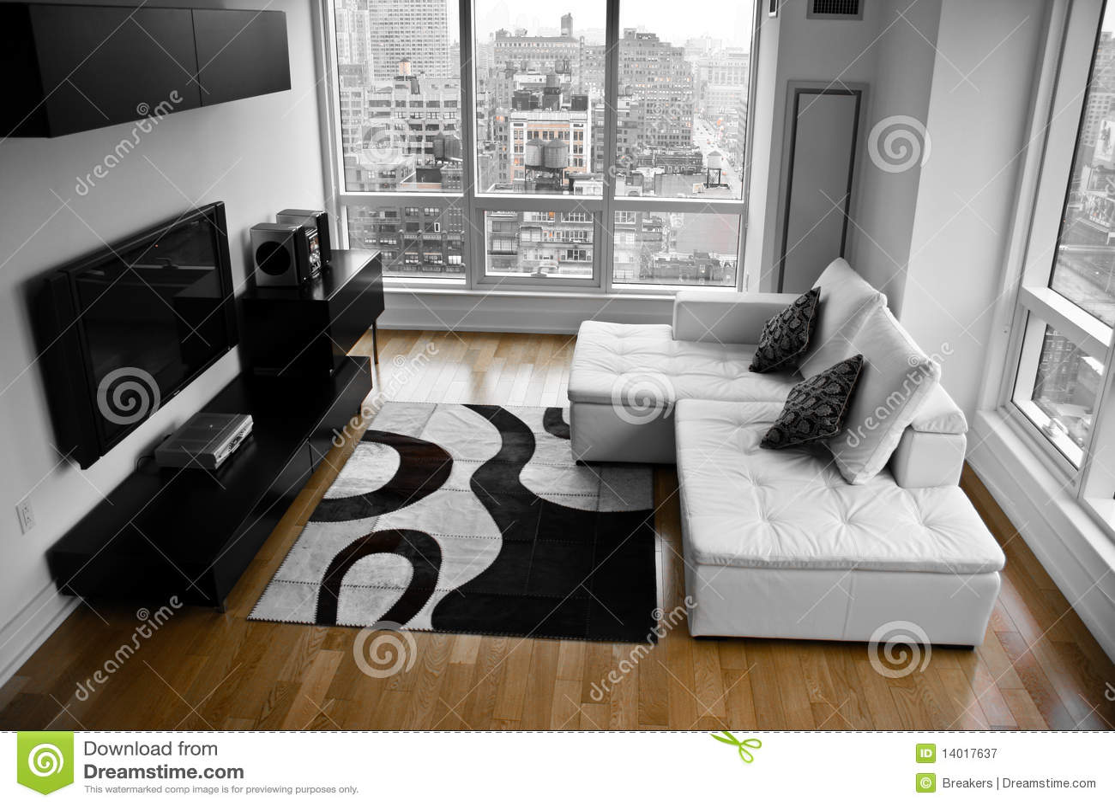 eine junggeselle auflage ein modernes wohnzimmer stockbild bild 14017637. Black Bedroom Furniture Sets. Home Design Ideas