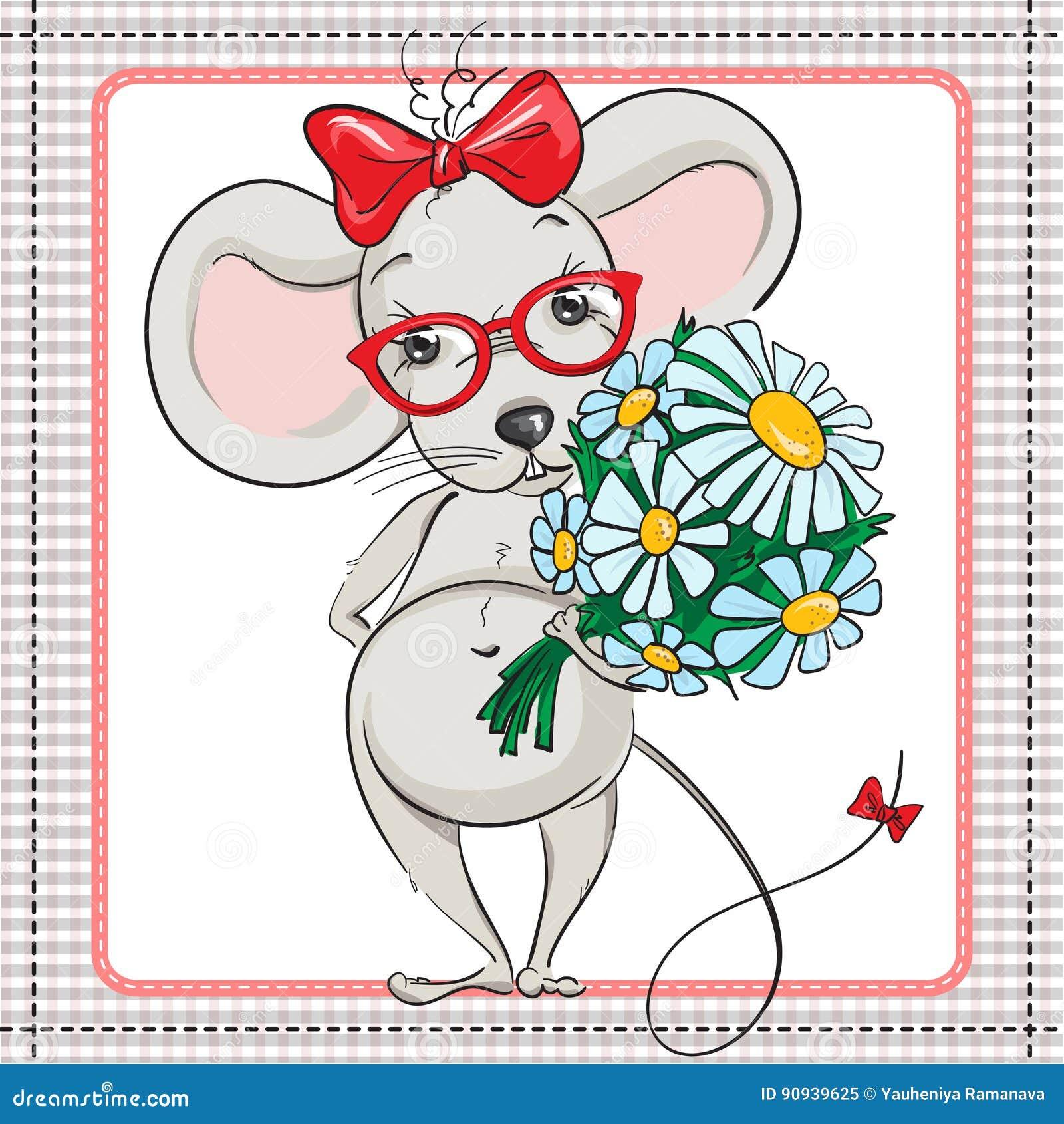 Eine Kleine Maus Mit Gläsern Mit Einem Großen Blumenstrauß Von ...