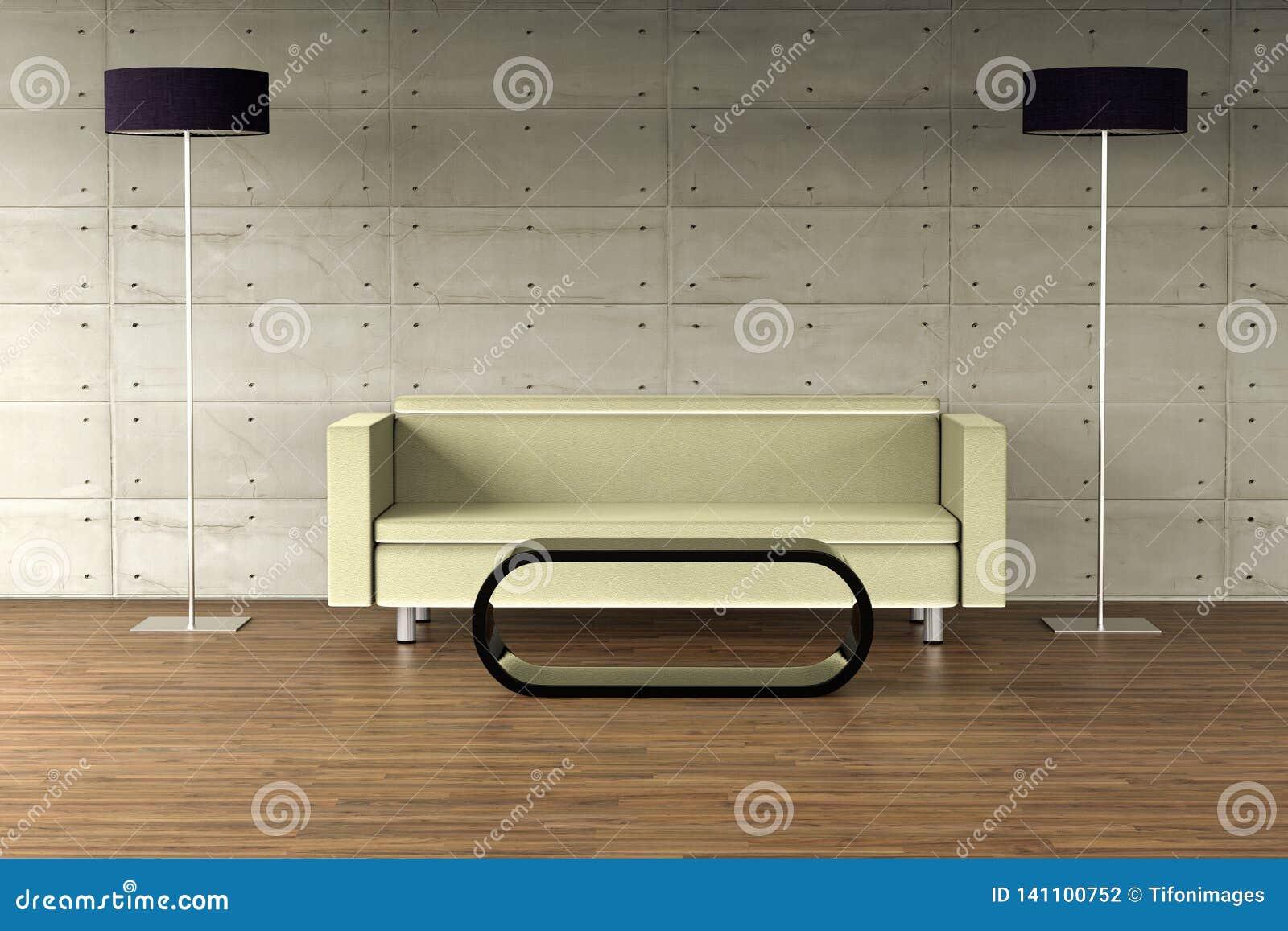 Eine leere Wand auf einer modernen Wohnung mit dem modernem Möbelselbst entworfen