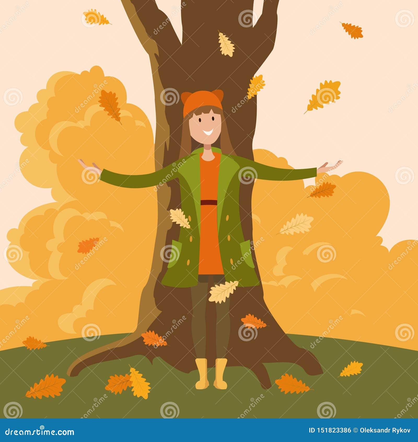 Eine Mädchenstellung unter einem Baum