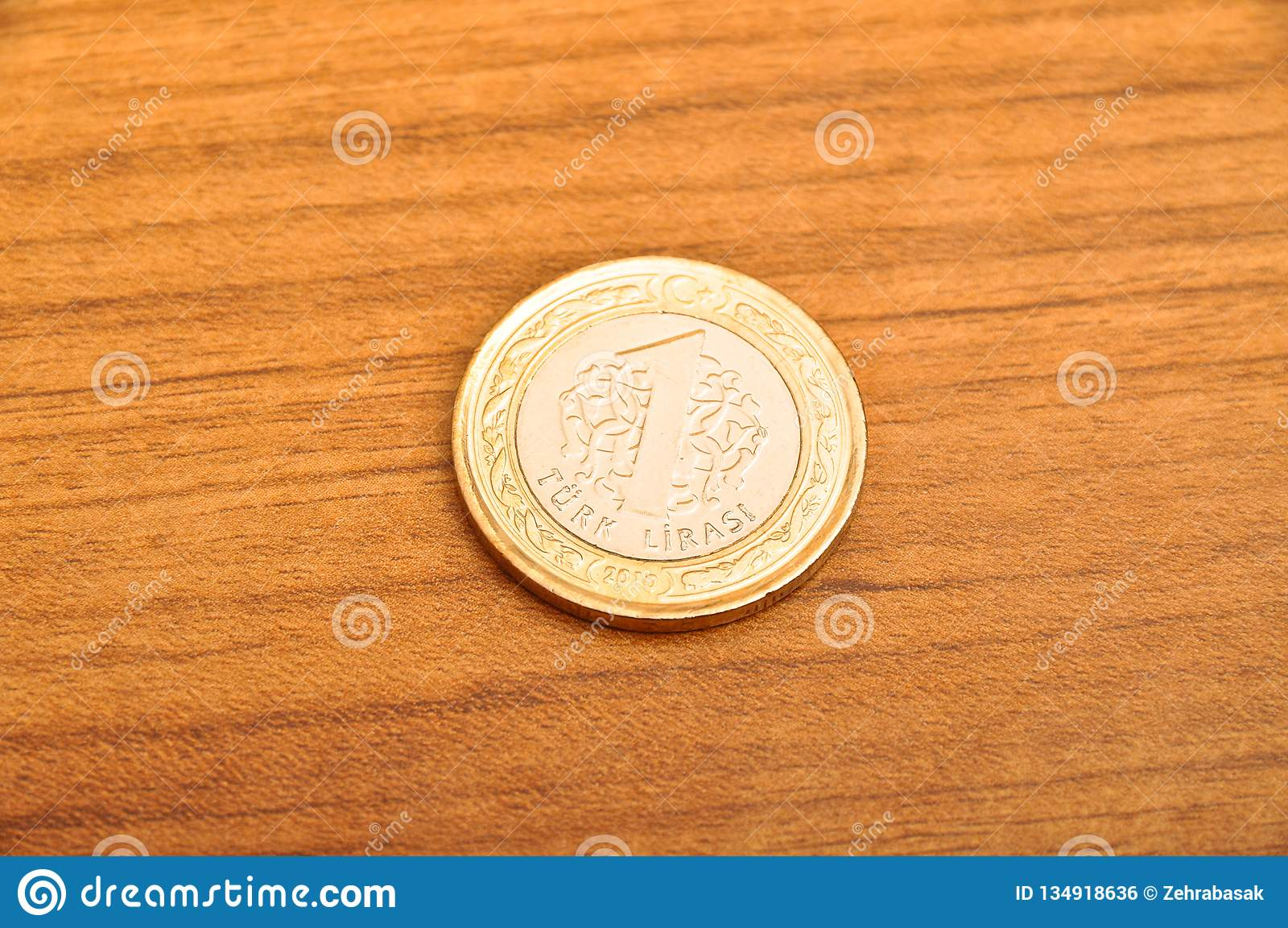 Eine Münze der türkischen Lira