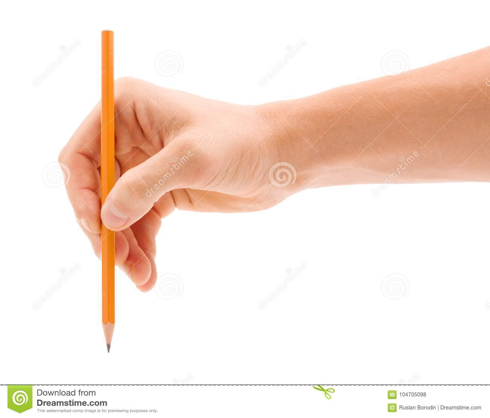 Eine Mann ` s Hand mit einem Bleistift wird auf einem weißen Hintergrund lokalisiert