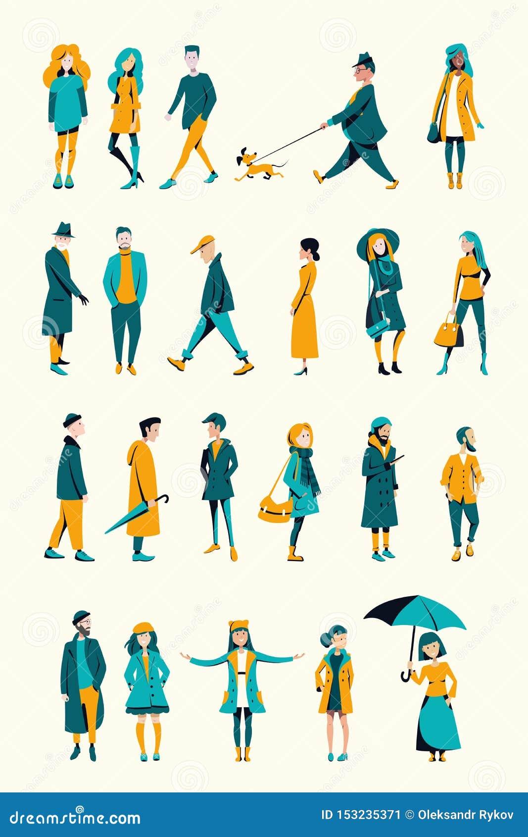 Eine Menge von den Leuten gekleidet in der Herbstkleidung
