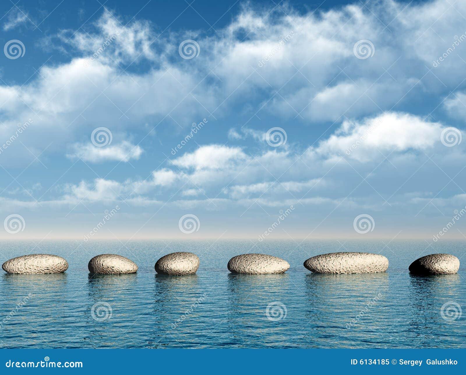 Eine Reihe Der Steine Im Wasser Stockbild Bild Von Brucke Reihe