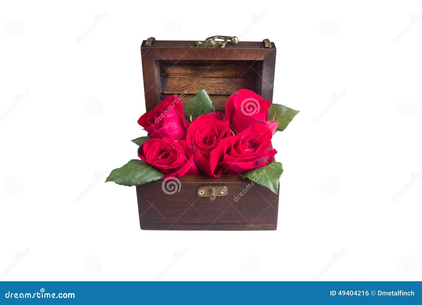 Download Eine rote Rose im Kasten stockfoto. Bild von karte, klein - 49404216