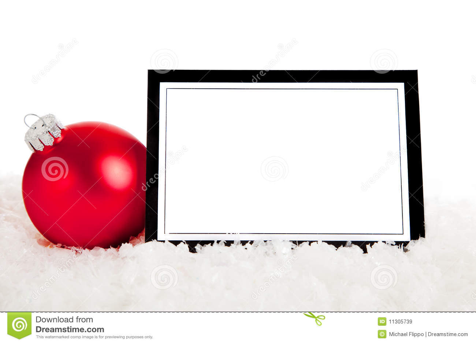 Eine rote Verzierung mit unbelegtem notecard