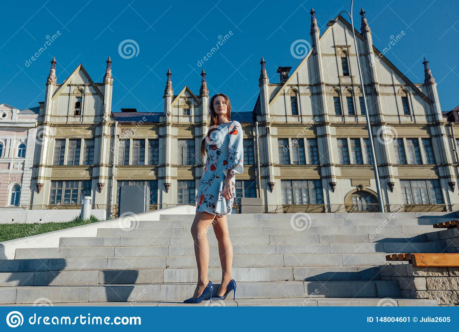 Eine schöne junge Frau in einem empfindlichen blauen Kleid