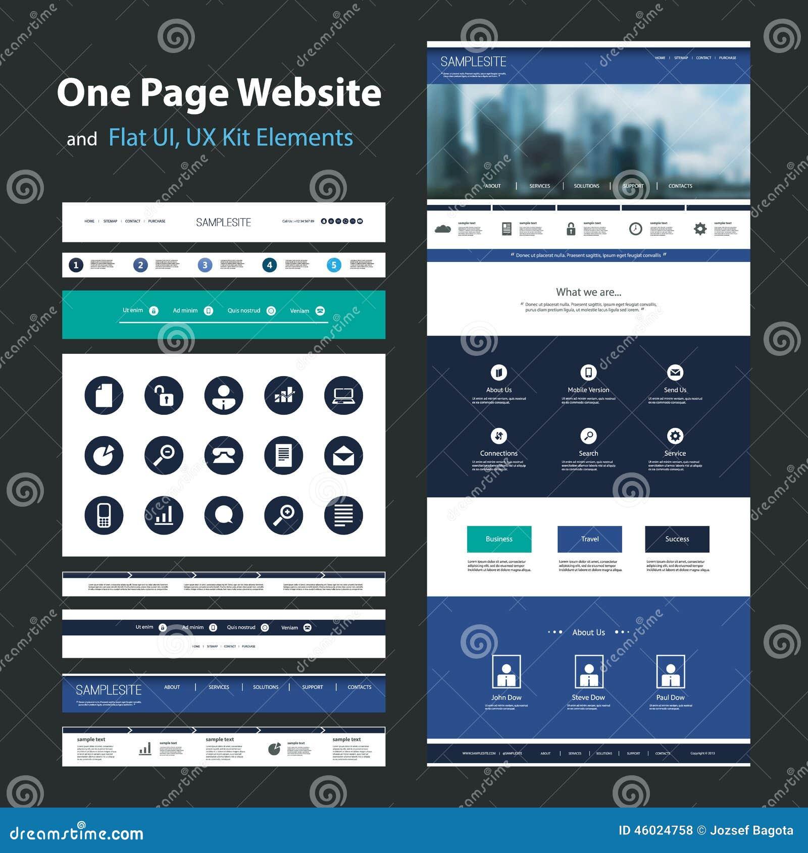 Eine Seiten-Website-Design-Schablone Und Flaches UI, UX ...