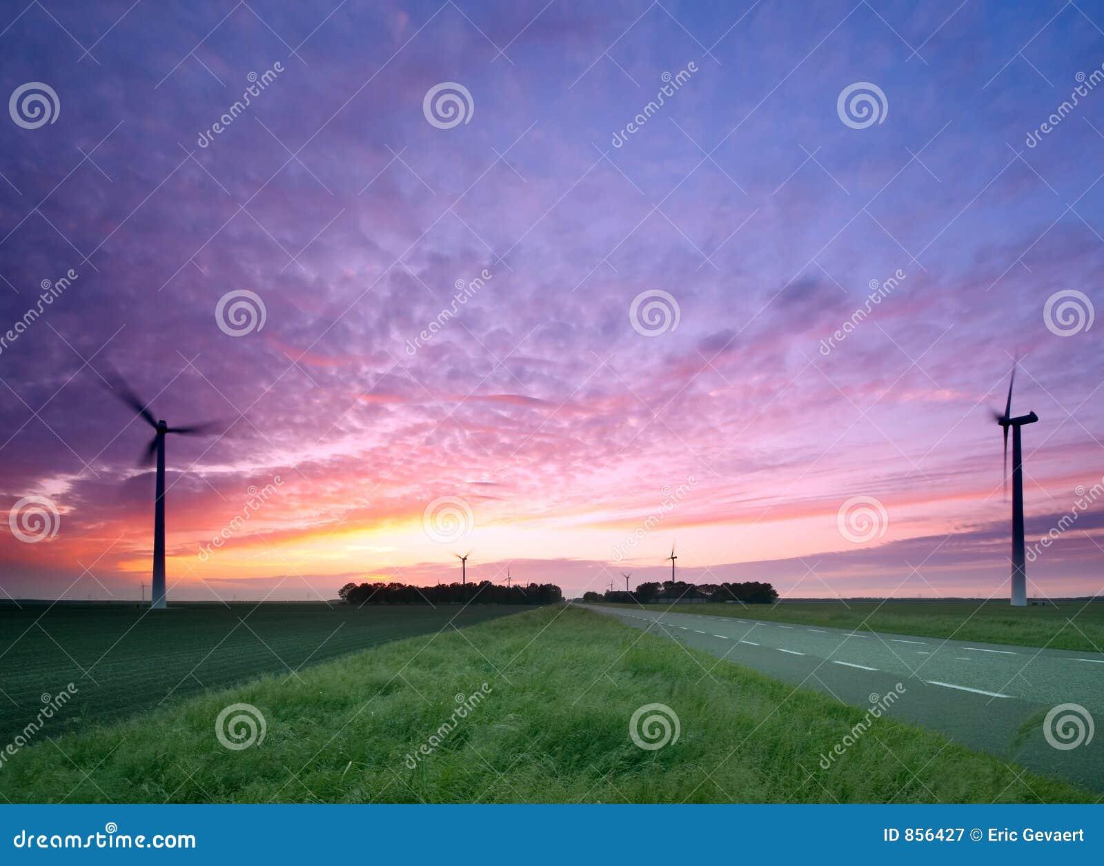 Eine Straße durch die Windmühlen