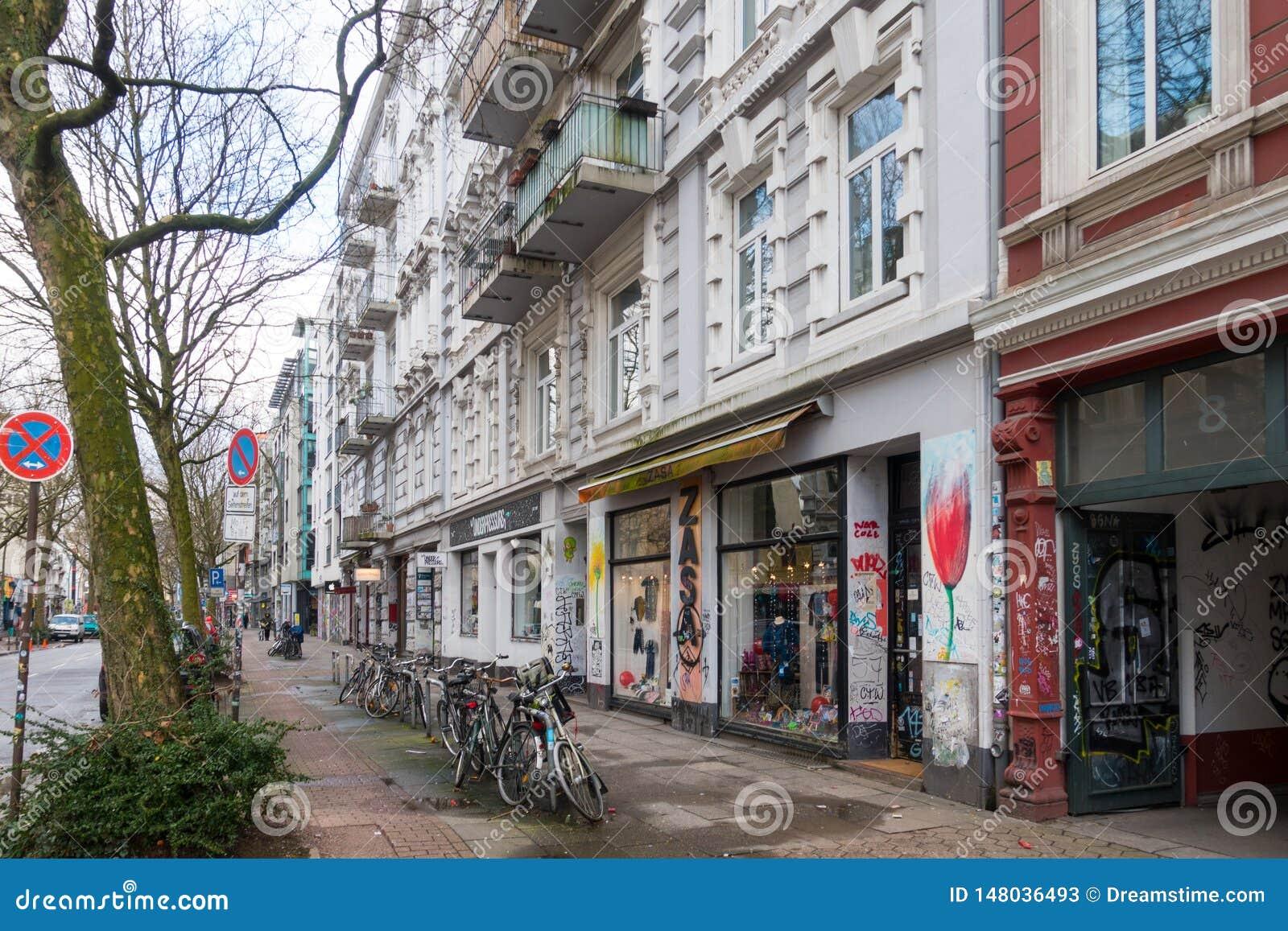 Eine Straße in Schanzenviertel, Hamburg