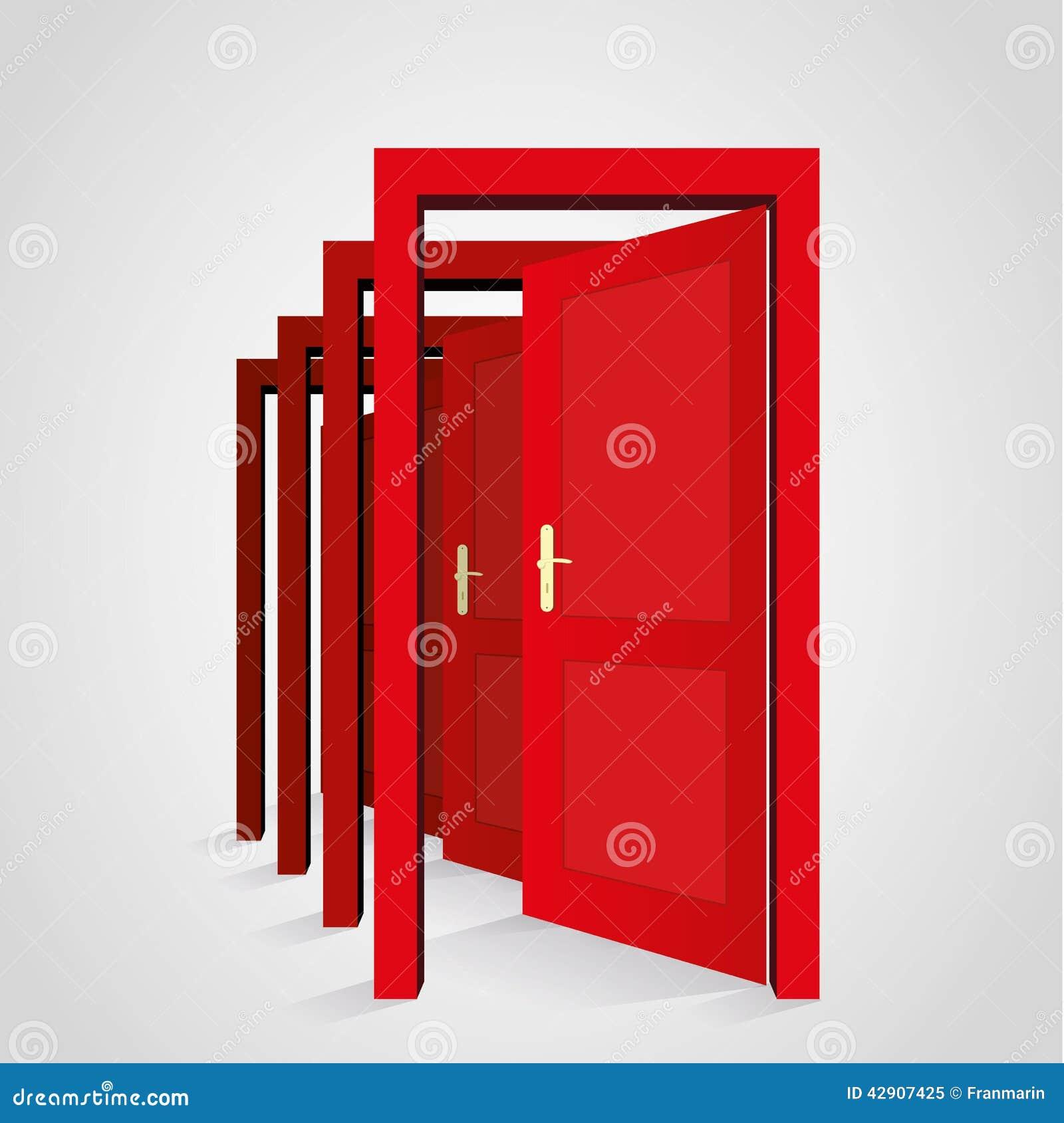 Eine tür  Eine Tür öffnet Eine Andere Tür Vektor Abbildung - Bild: 42907425