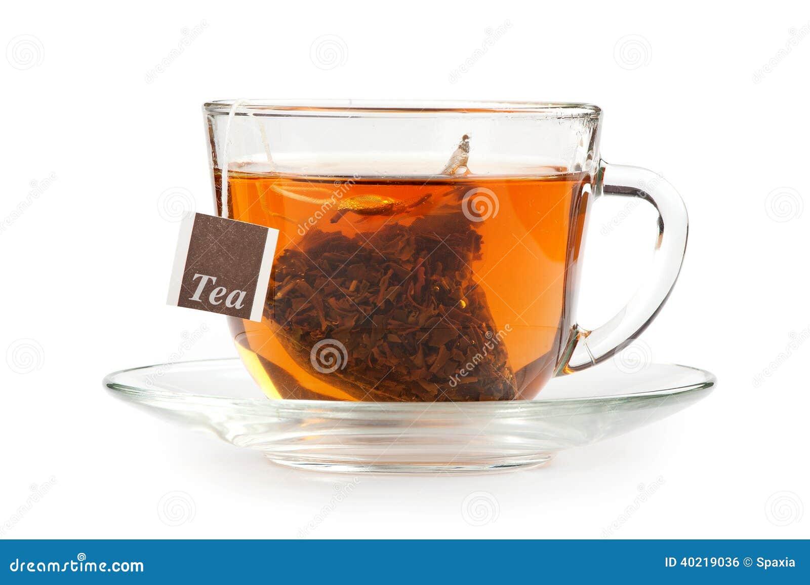 eine tasse tee mit teebeutel stockfoto bild von floral wei 40219036. Black Bedroom Furniture Sets. Home Design Ideas