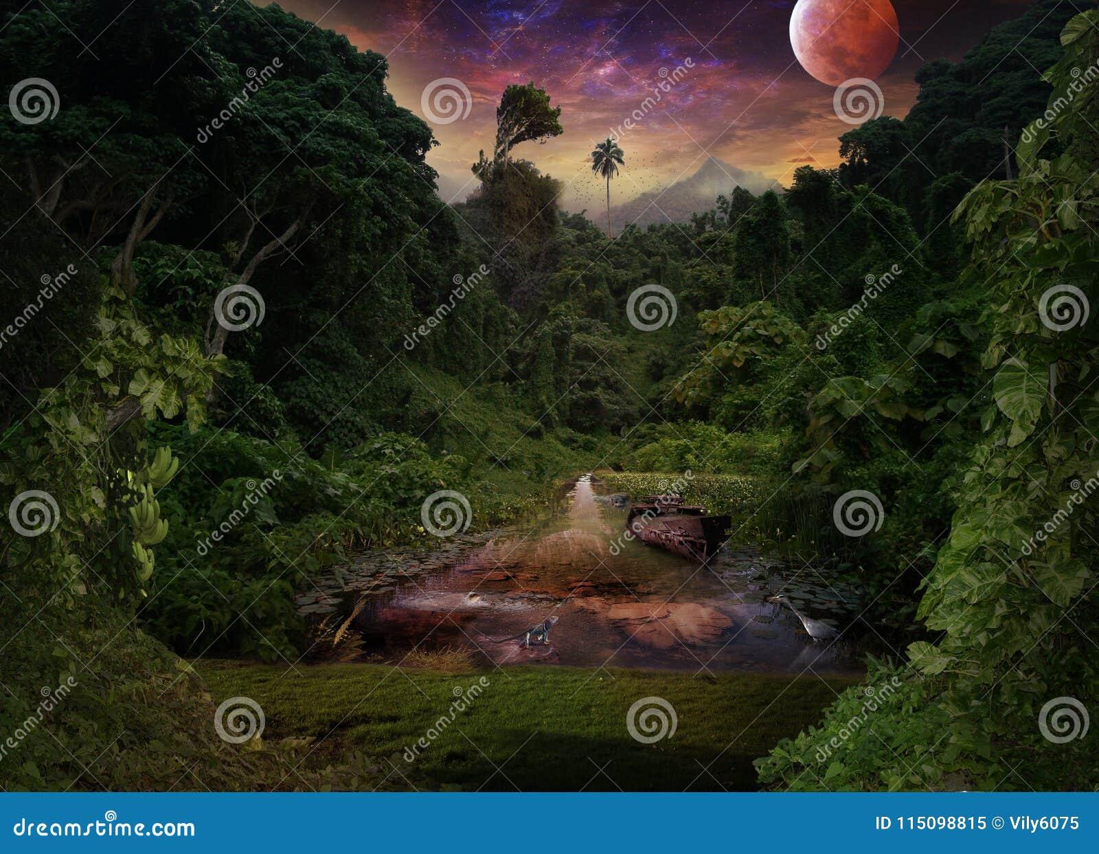 Eine tropische Nacht im Dschungel Lotus, Reiher, Nilpferd und L