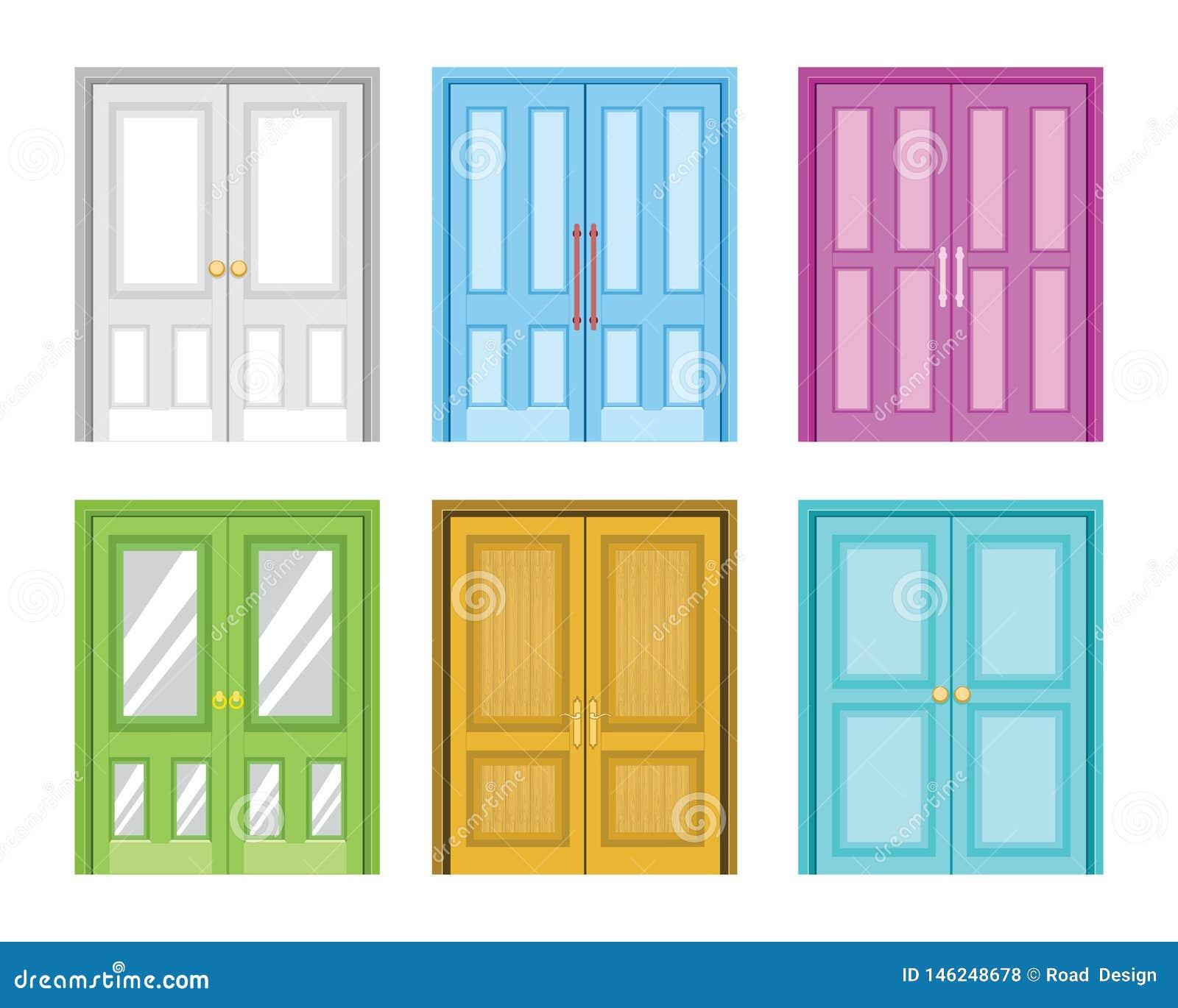Eine Vielzahl der bunten Haupttür-Entwurfs-Vektor-Illustration