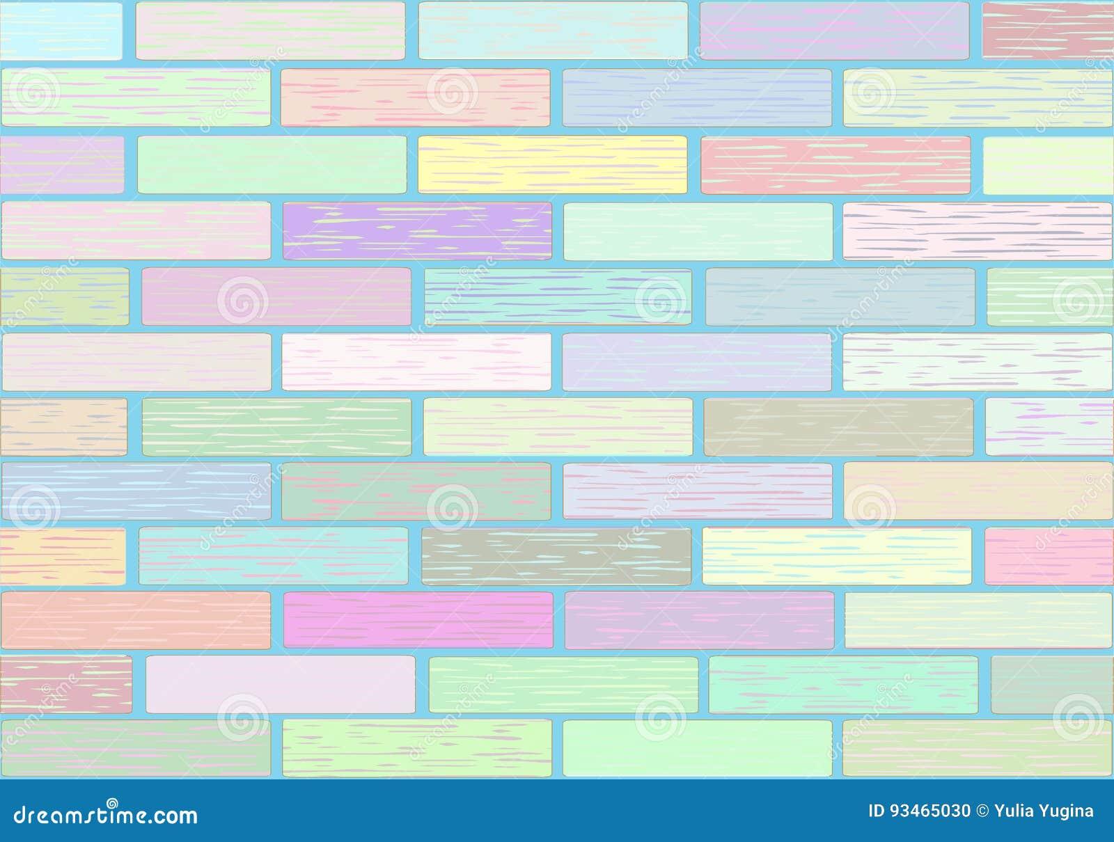 Eine wand von bl cken in den pastellfarben vektor abbildung illustration von fassade tapete - Pastellfarben wand ...