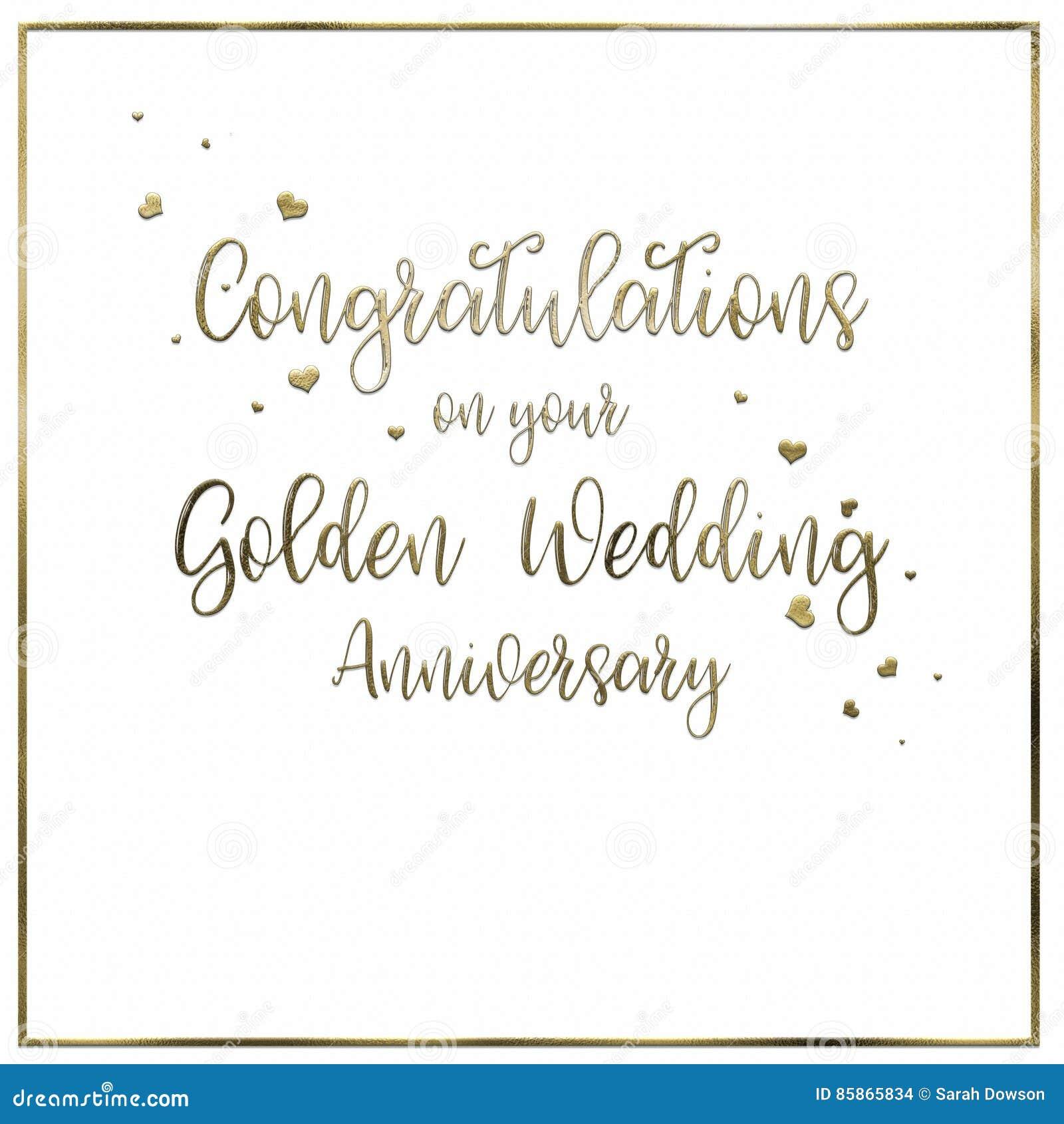 Einfach Karte Der Goldenen Hochzeit Stock Abbildung