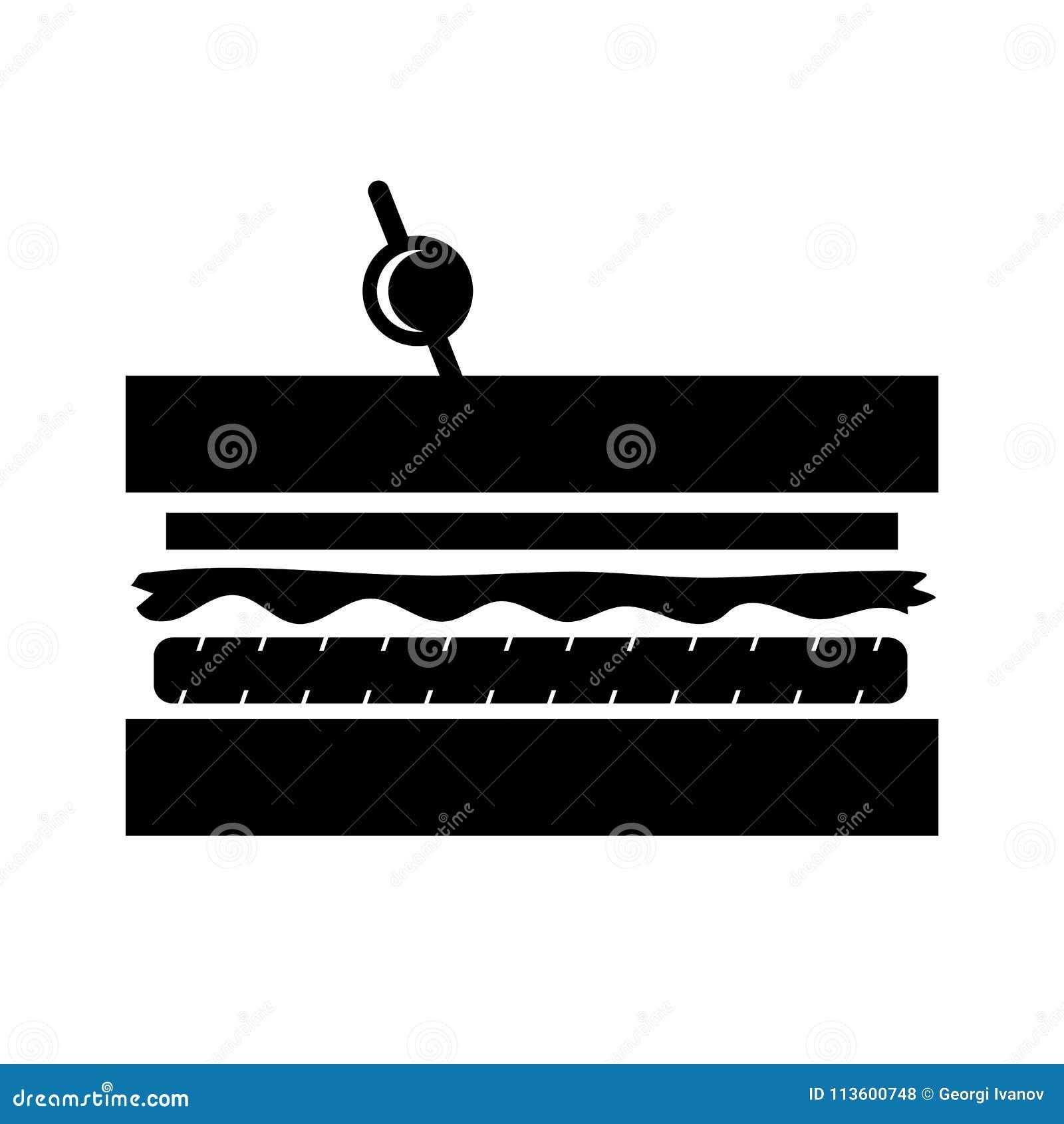Einfache, flache, schwarze Club Sandwich Schattenbildillustration/-ikone Lokalisiert auf Weiß