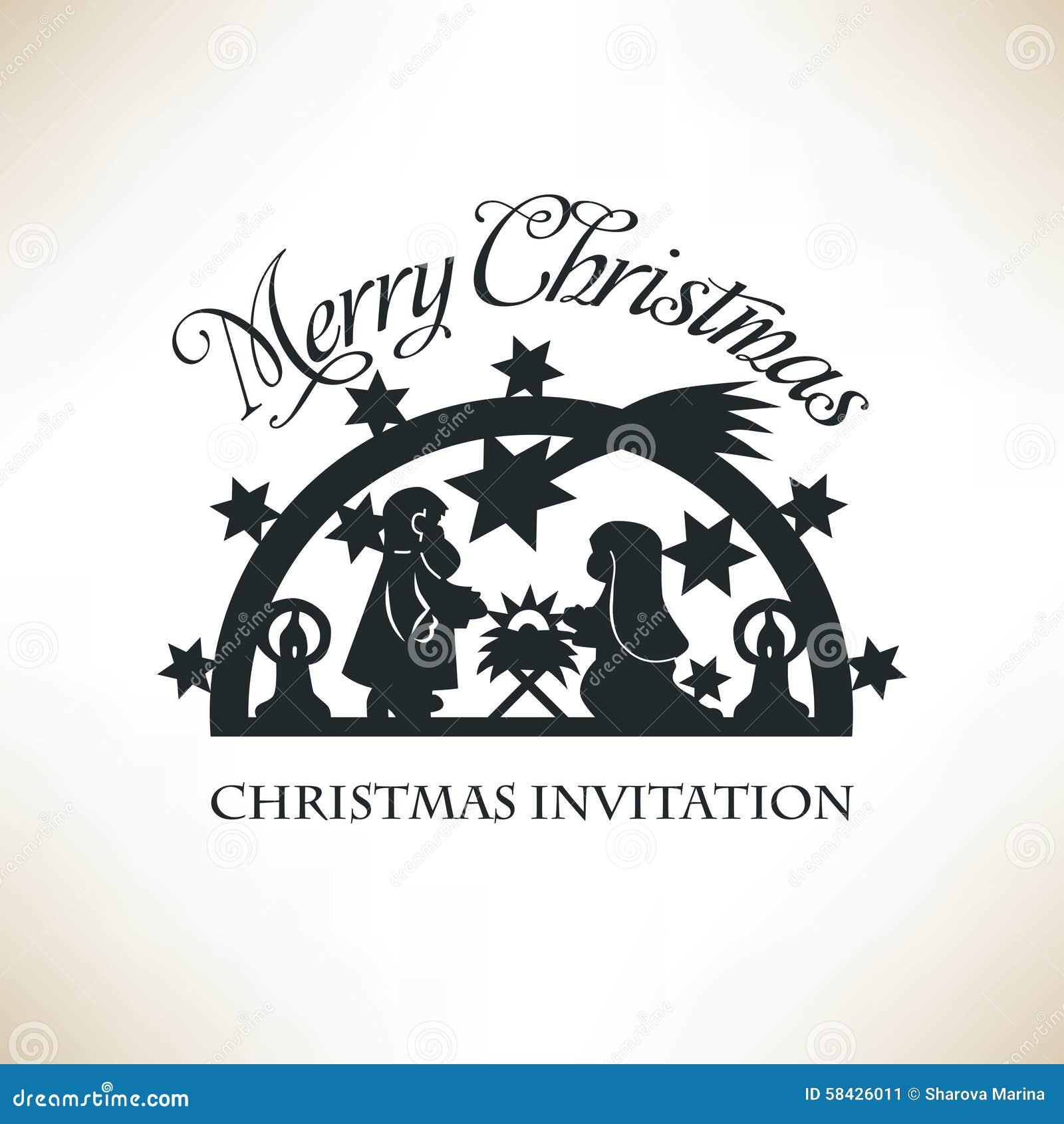 Einfache Geburt Christi-Szene Weihnachtseinladung Vektor Abbildung ...