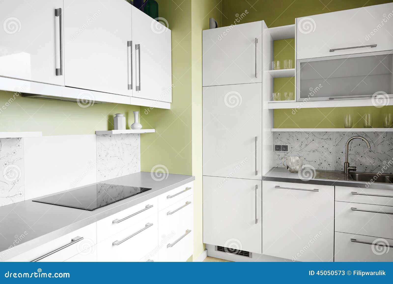 einfache küche in den weißen farben stockfoto - bild: 45050573
