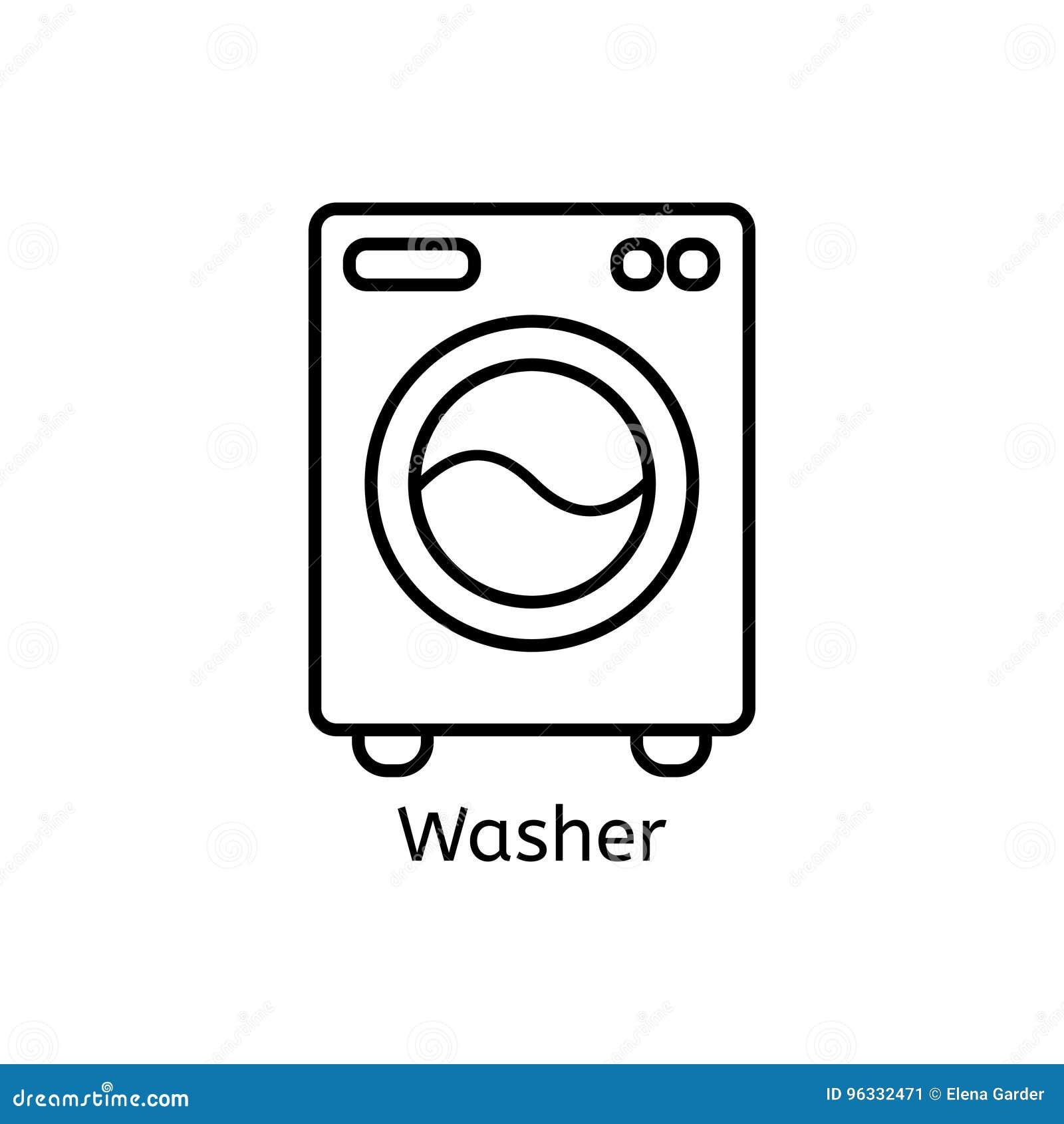 Einfache Linie Ikone Der Waschmaschine Waschendes Ma Hine Dünne