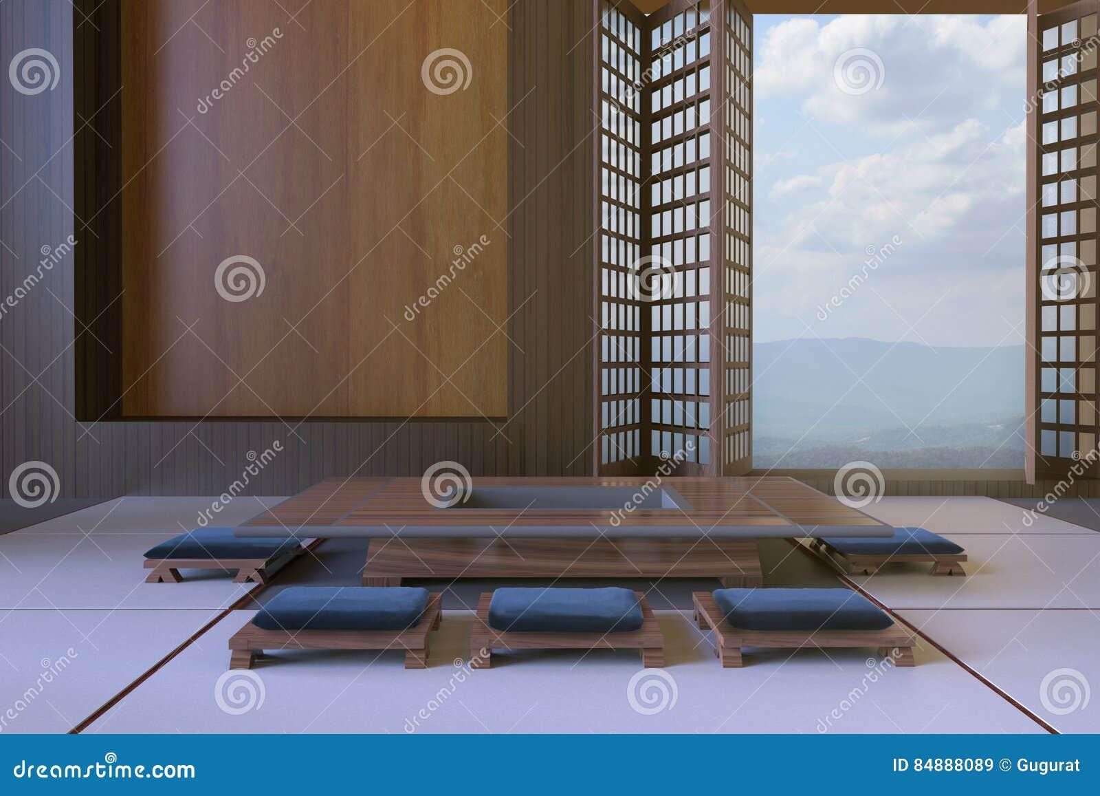 Download Einfache Moderne Japanische Wohnzimmer Und  Tischplatten Sitzminimale Zeitgenössische Kunst Stock Abbildung    Illustration Von