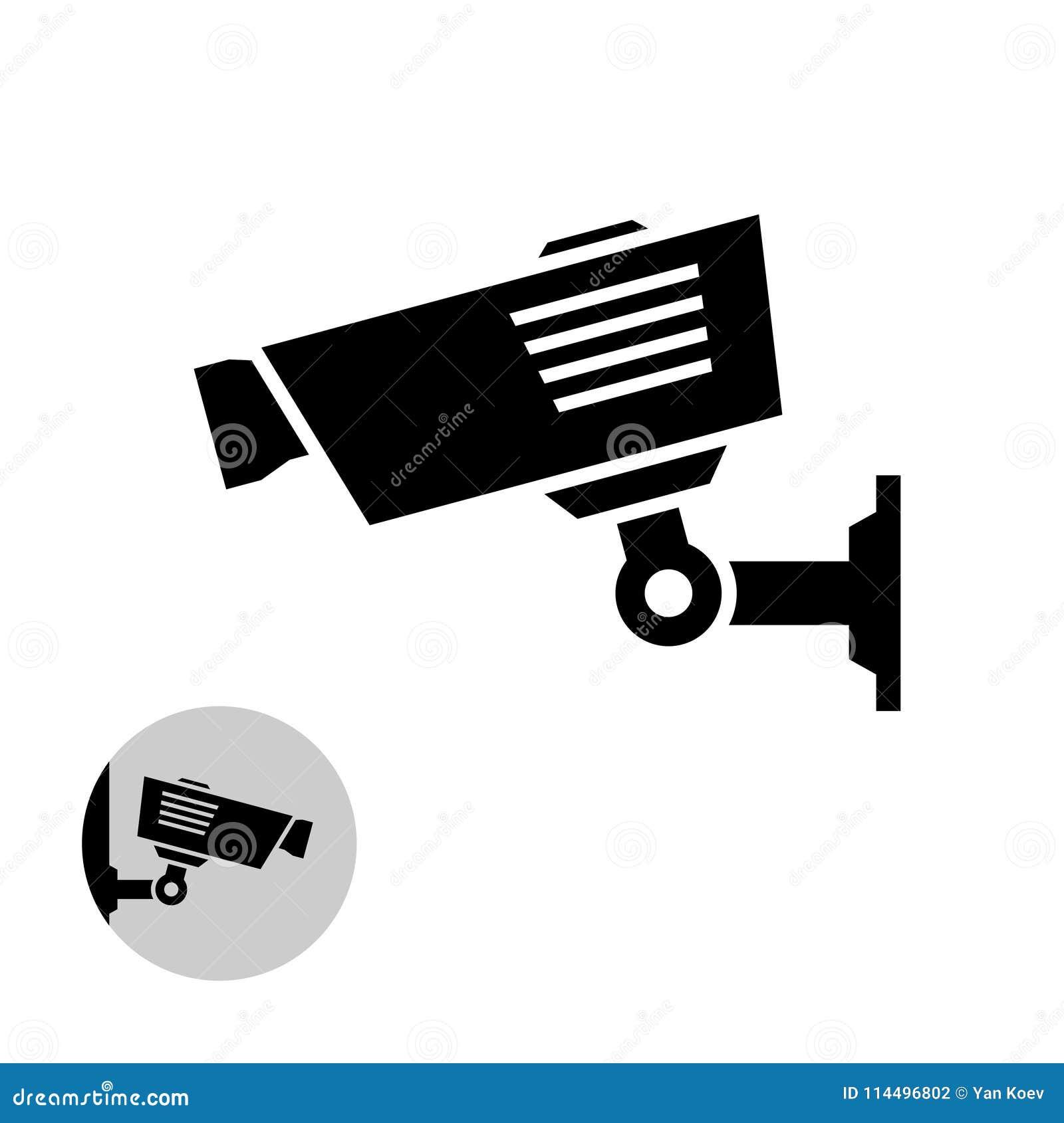 Einfache schwarze Ikone der Überwachungskamera auf der Wand