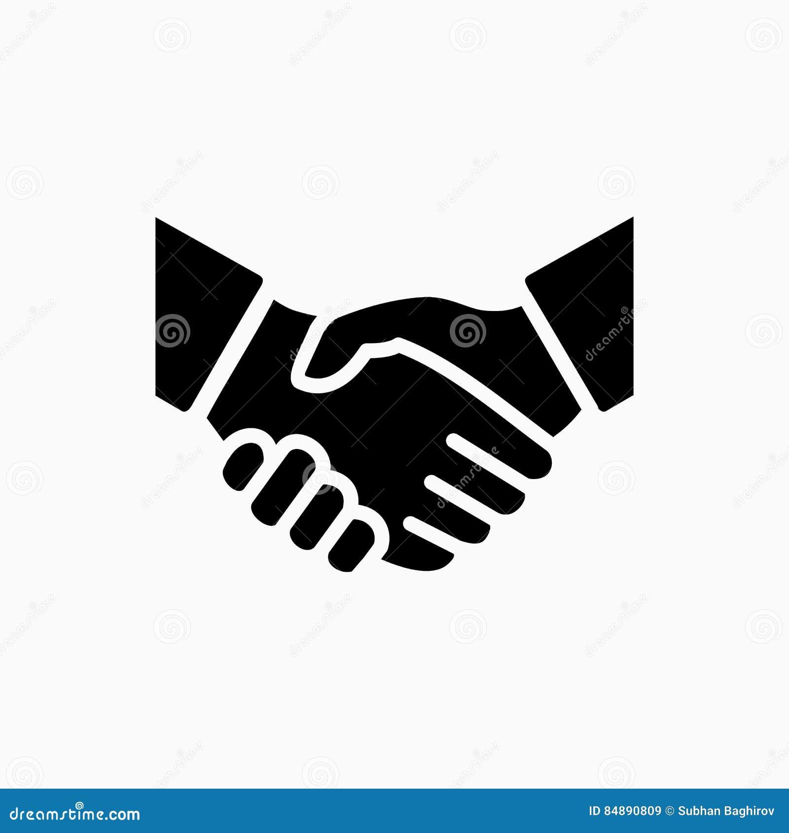 Einfache Vektorillustration der Händedruckikone Abkommen oder Partner stimmen zu