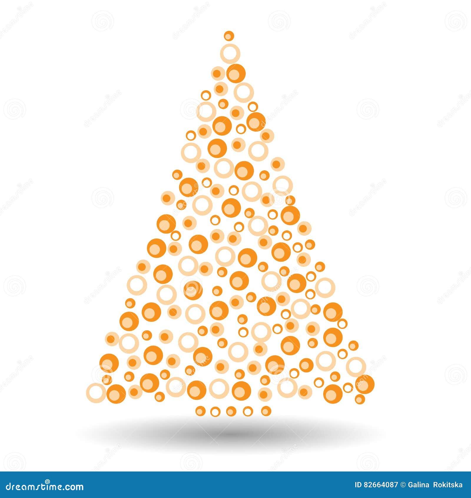 einfacher abstrakter weihnachtsbaum von kreisen orange und. Black Bedroom Furniture Sets. Home Design Ideas