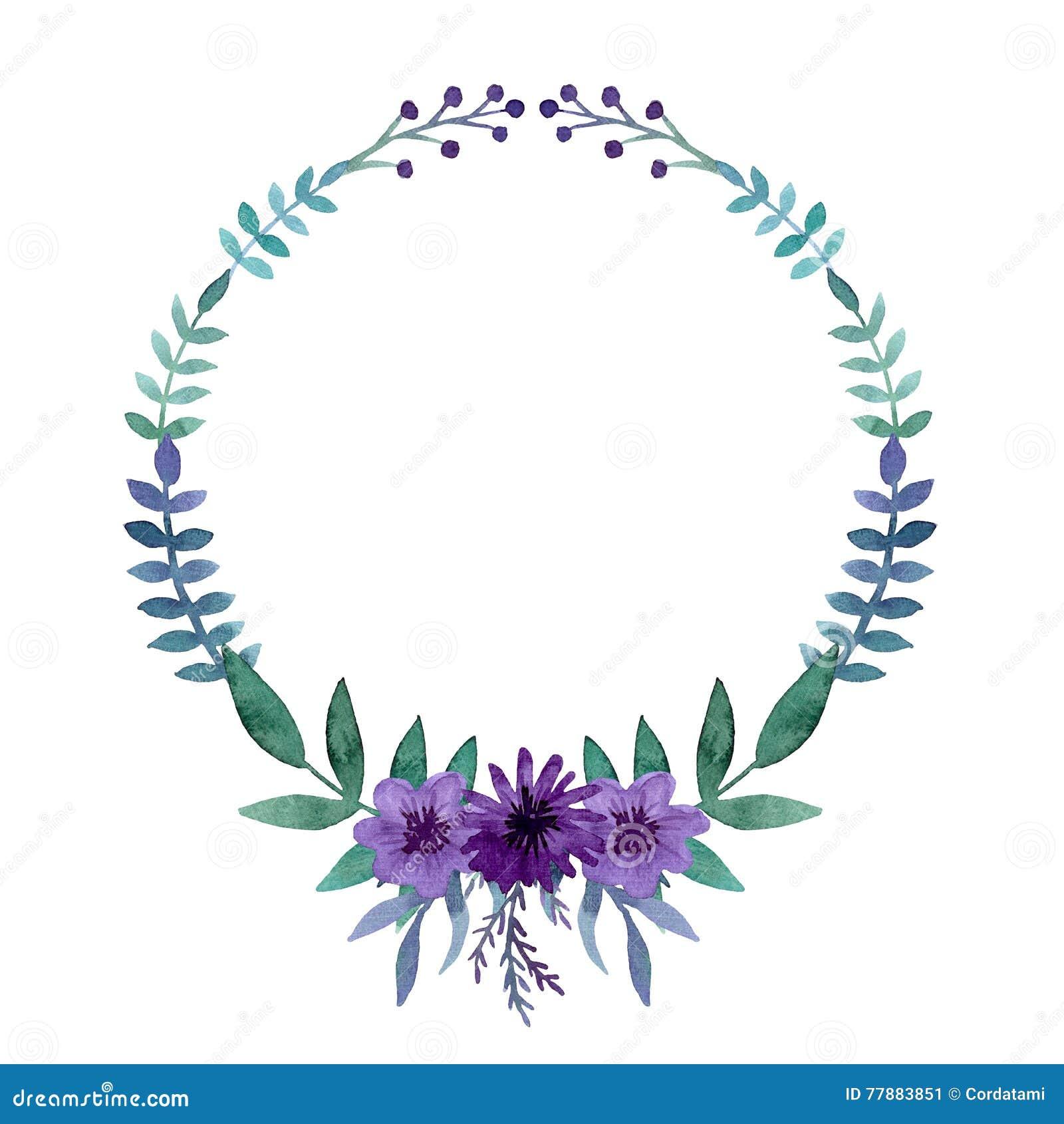 Einfacher Kranz mit Aquarell helle Violet Flowers, Beeren und Blättern