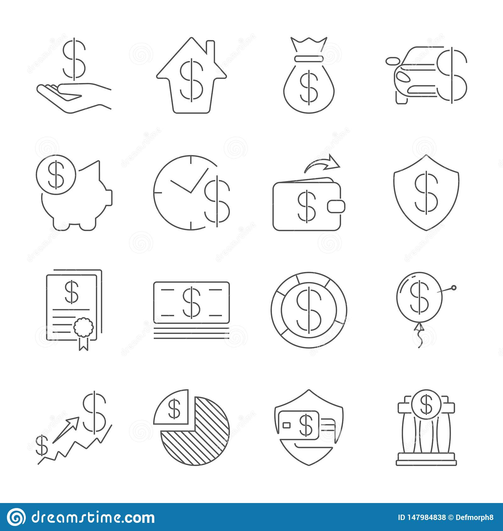 Einfacher Satz Geld-der in Verbindung stehenden Vektor-Linie Ikonen Dünne Linie Vektorikonensatz - Dollar, Kreditkarte, Geldbörse