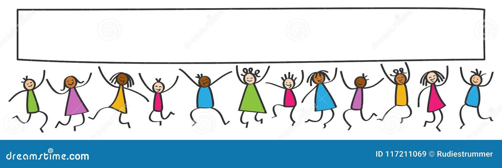 Einfacher Stock stellt Fahne dar, die glücklichen multikulturellen springenden Kinder, weißes Plakatbrett des freien Raumes