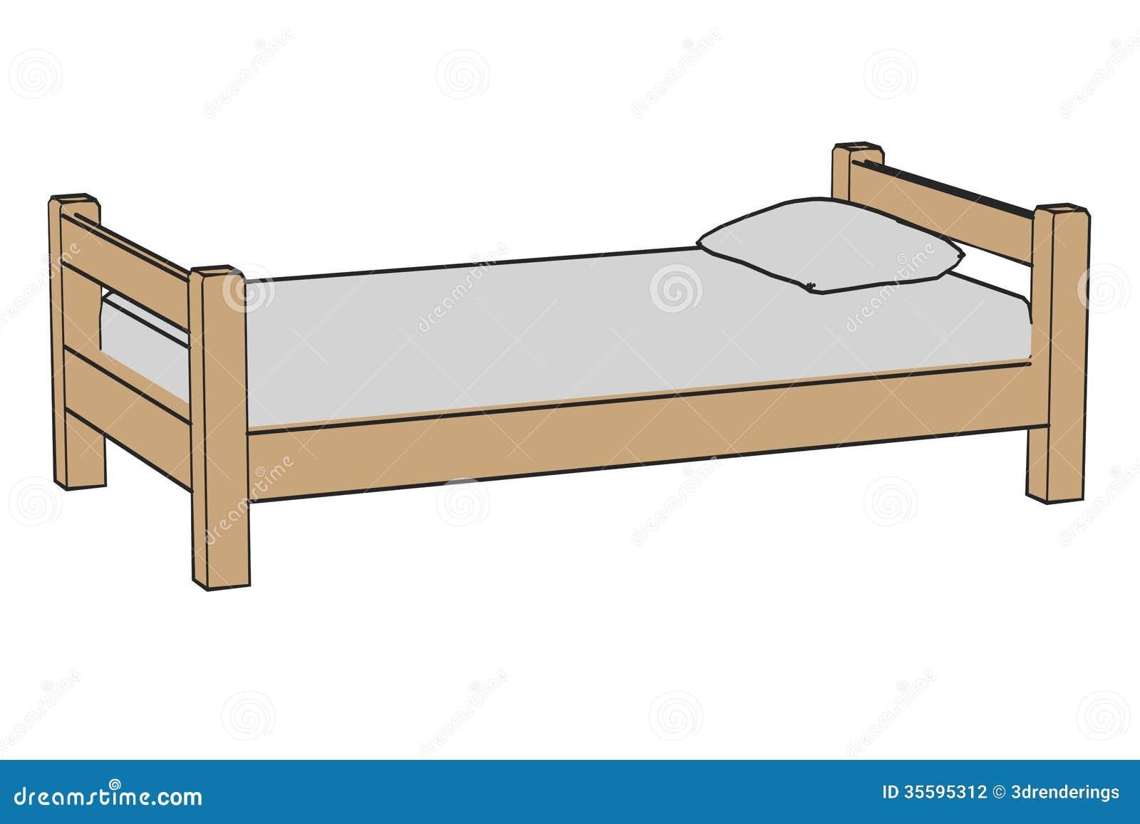 einfaches bett stock abbildung illustration von karikatur 35595312. Black Bedroom Furniture Sets. Home Design Ideas