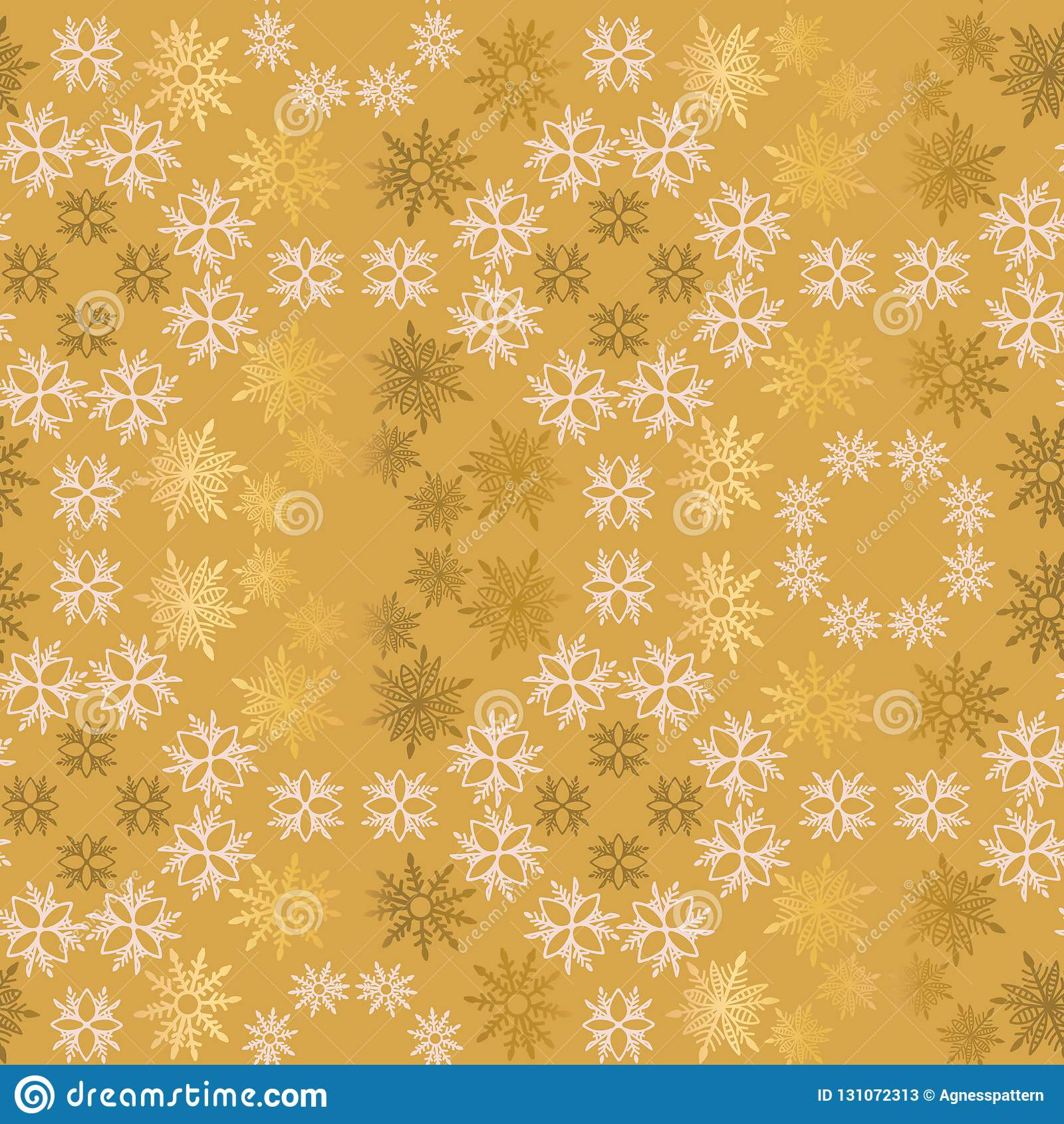 Einfaches dekoratives nahtloses Vektormuster der goldenen und hellrosa Schneeflocke Abstrakte Tapete, Dekoration einwickelnd