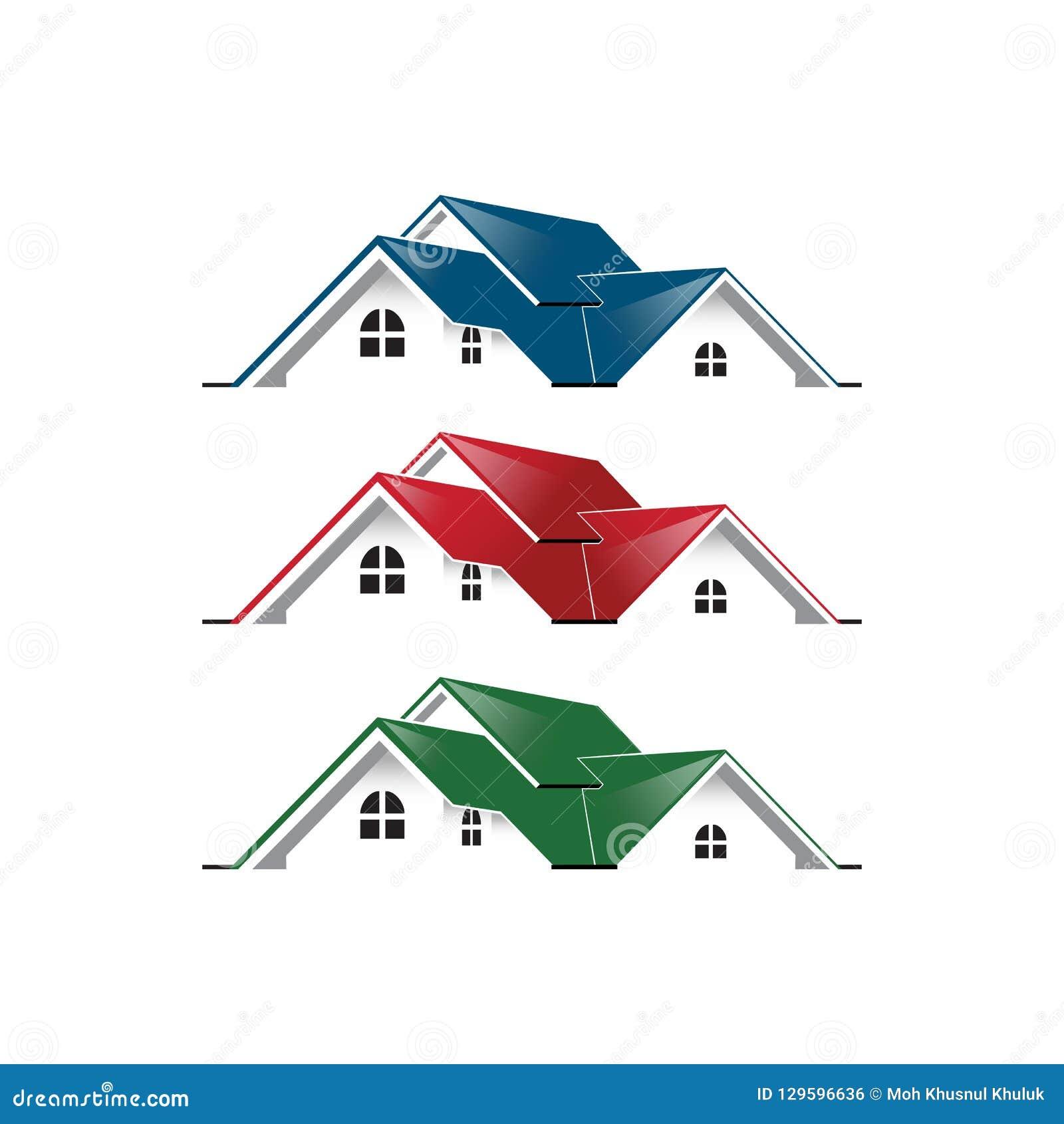 Einfaches einzigartiges des grafischen Hauses des Immobilienlogos blaue rote grüne Farbe