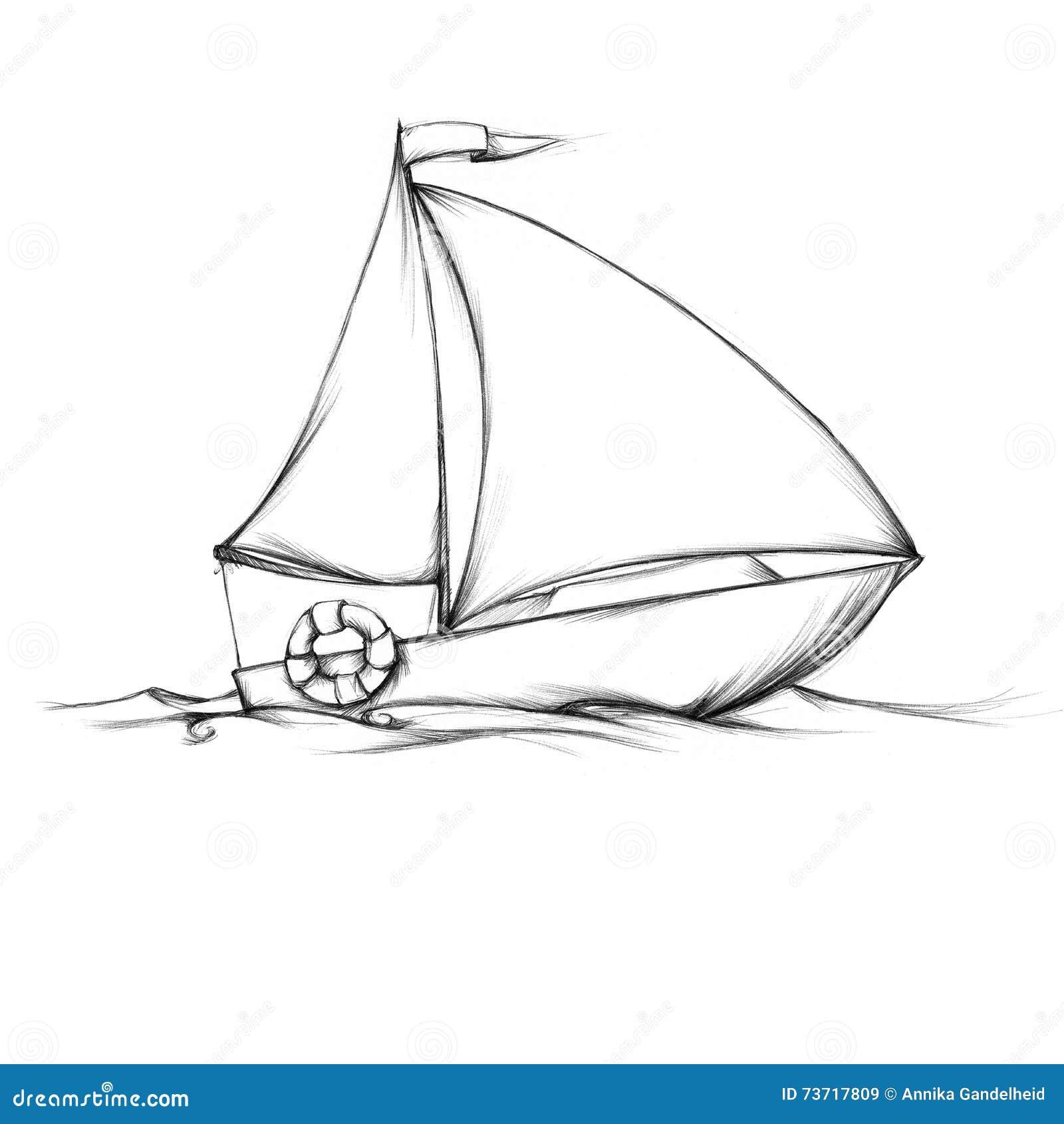 einfaches kleines segelboot stock abbildung  illustration