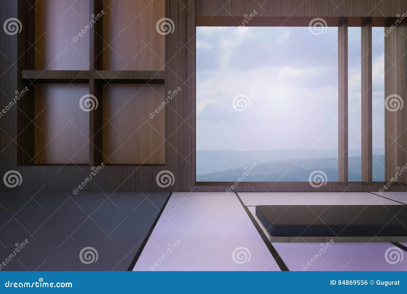 Einfaches modernes japanisches wohnzimmer und minimaler fensterrahmen und ansichten von bergen und von himmel