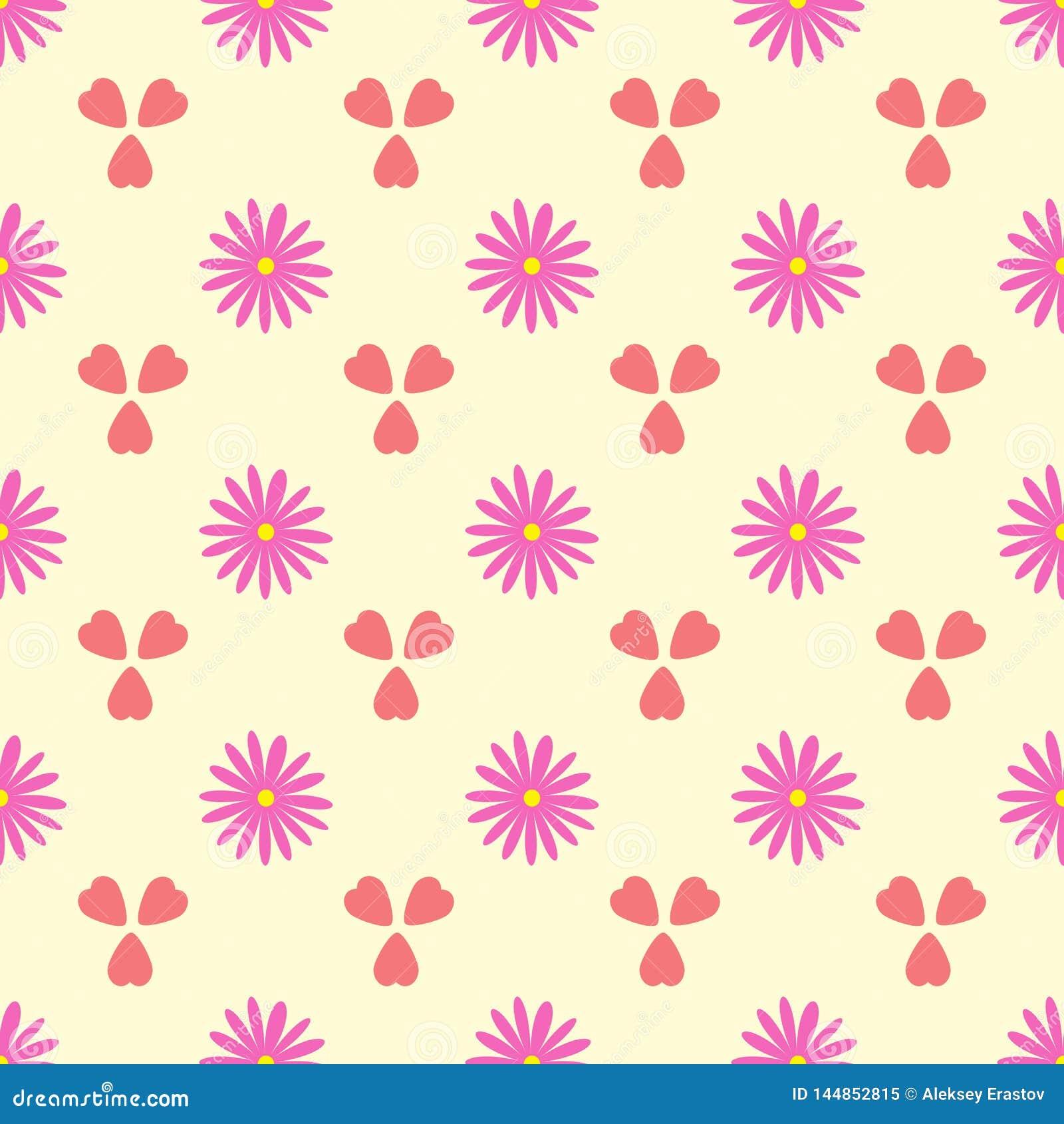 Einfaches nahtloses Muster mit Blumen und Herzen Romantische Blumenvektorillustration