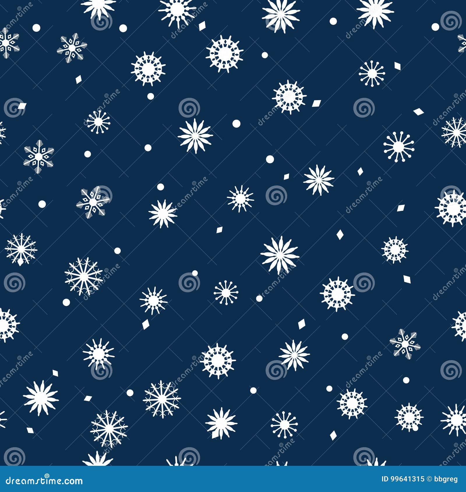 Einfaches Nahtloses Muster Von Schneeflocken Auf Einem Dunkelblauen ...