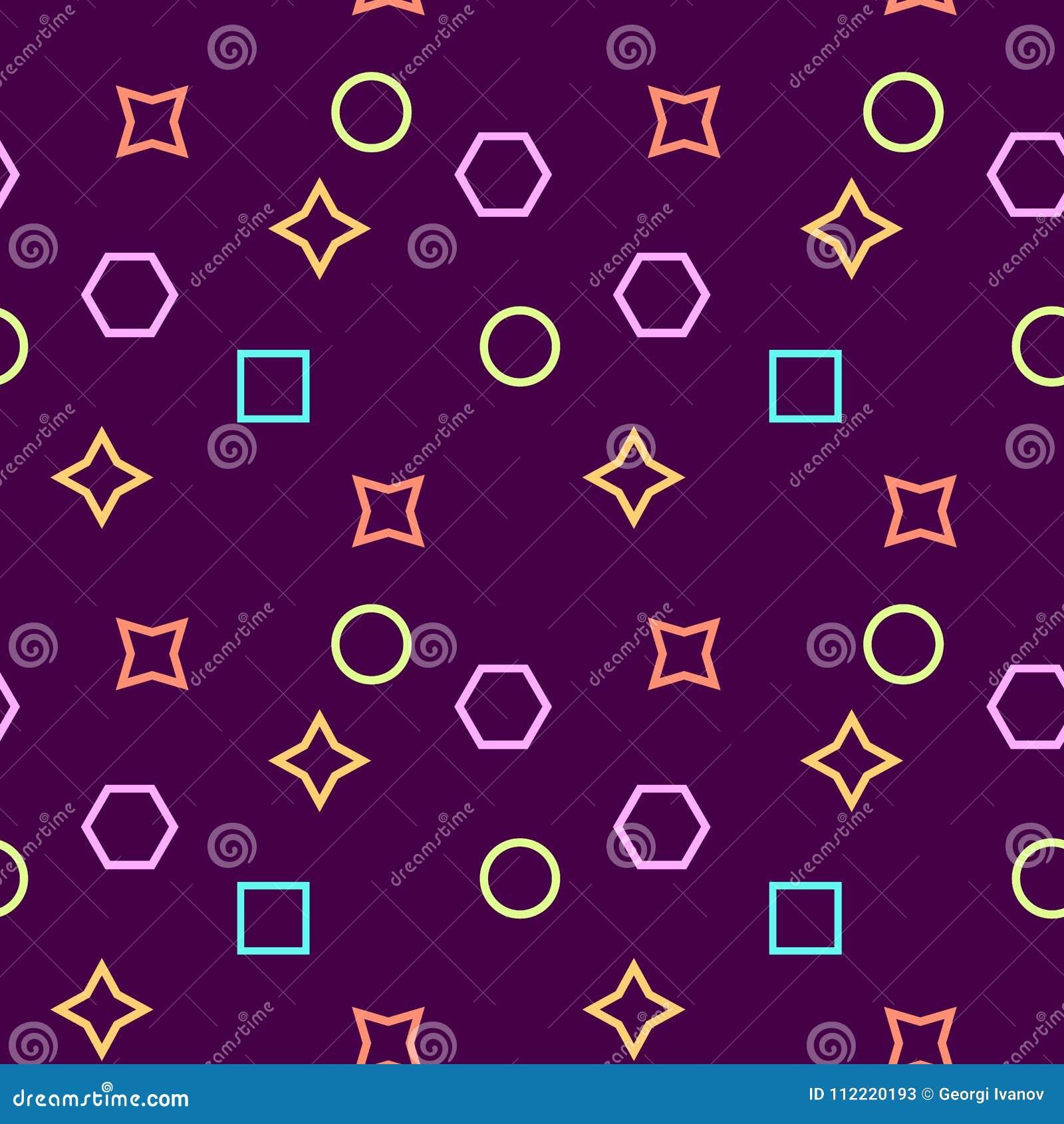 Einfaches, nahtloses/Wiederholungsmemphis-Muster/Beschaffenheit Purpurrote, rosa, gelbe und blaue Elemente
