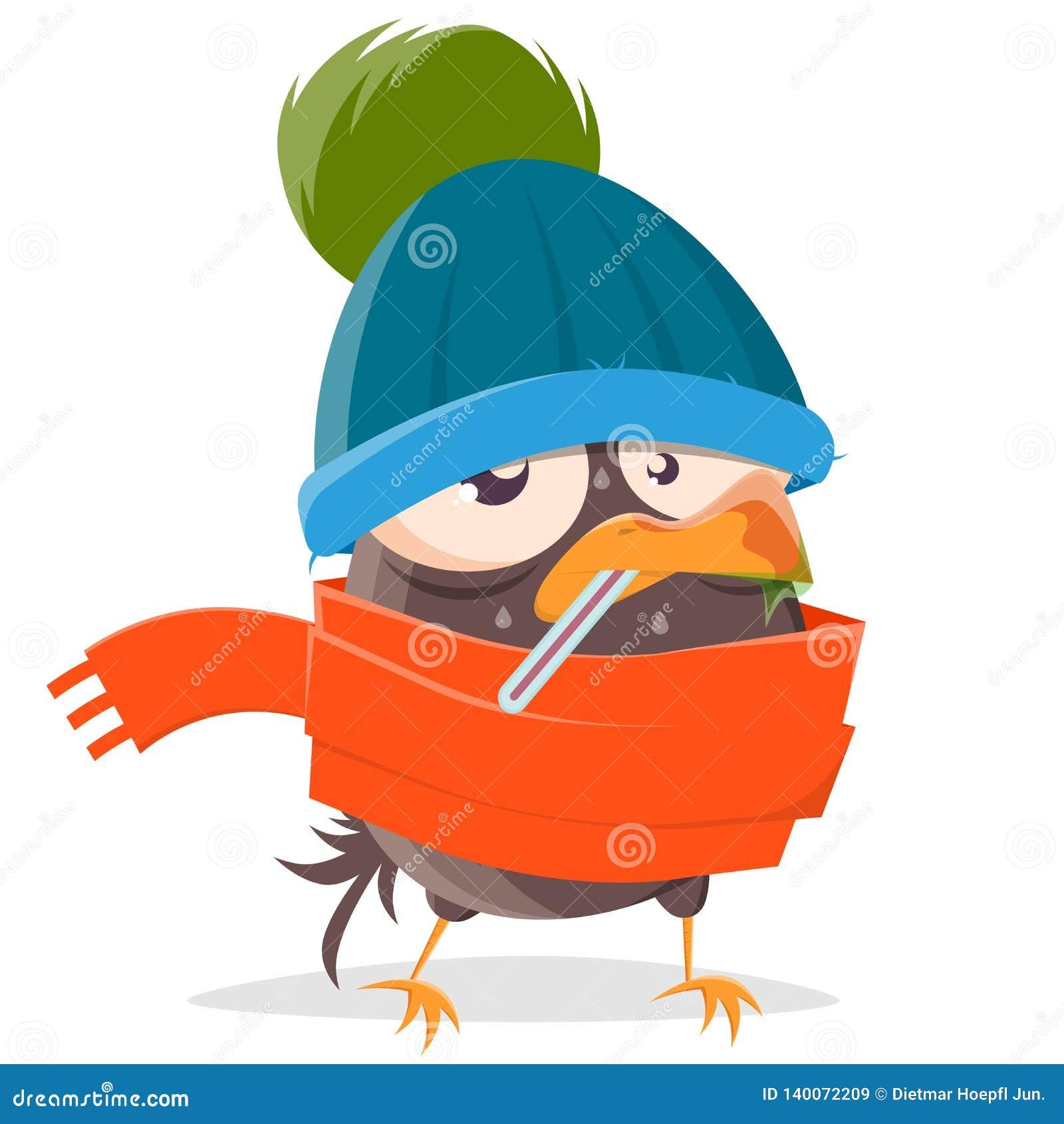 Cartoon bird is sick