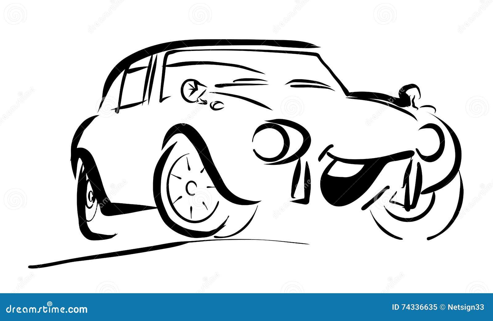 Einfaches Sportives Lächelndes Komisches Auto Vektor Abbildung ...