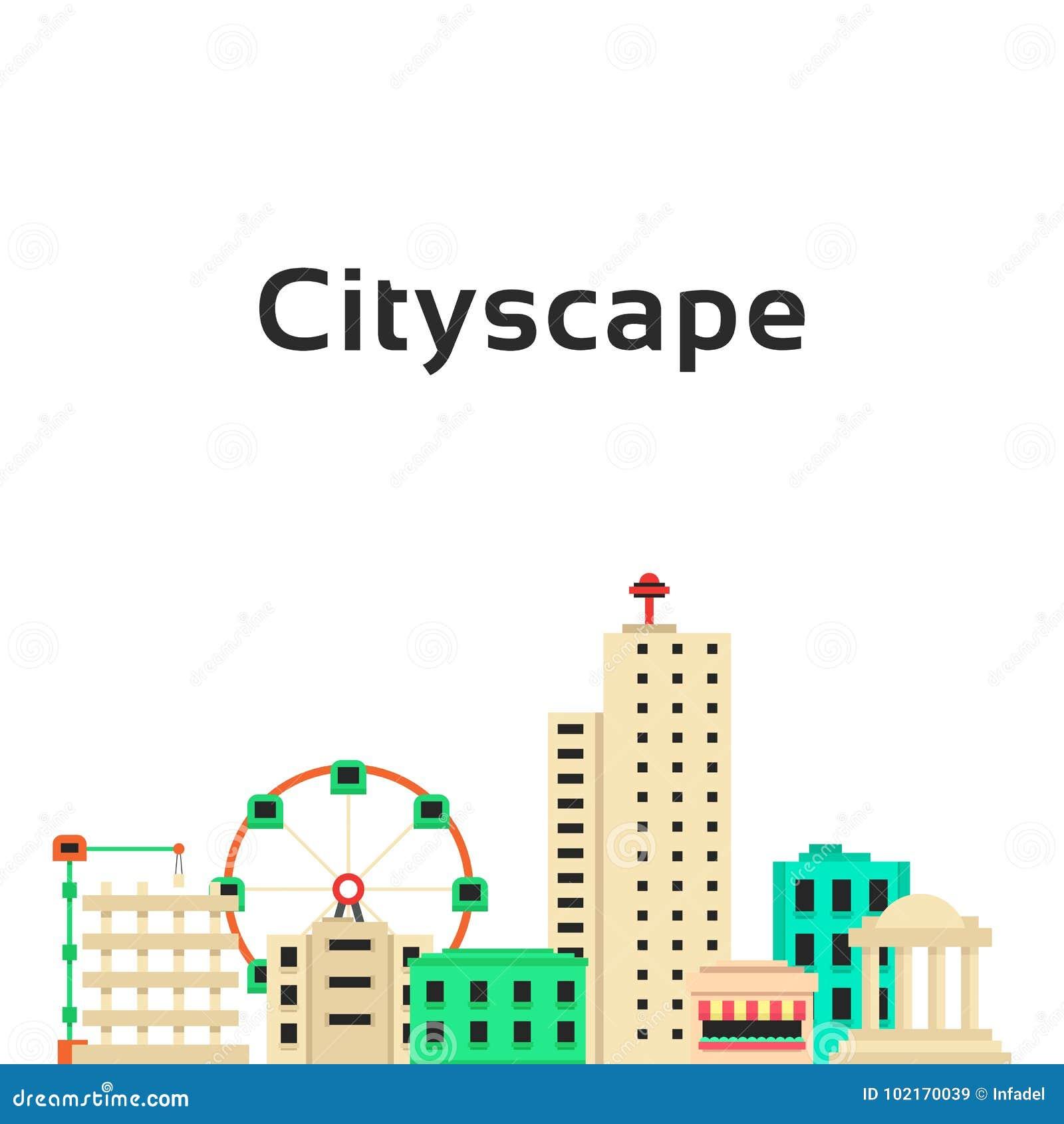 Einfaches Stadtbild mit Satz Gebäuden
