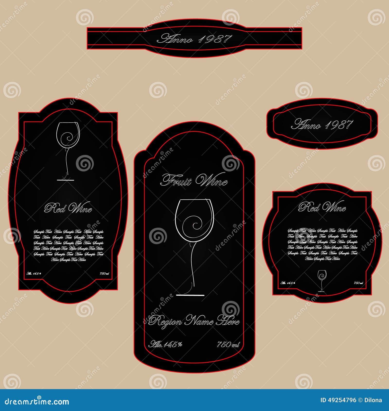 Einfaches Weinleseweinaufkleberschwarzrot