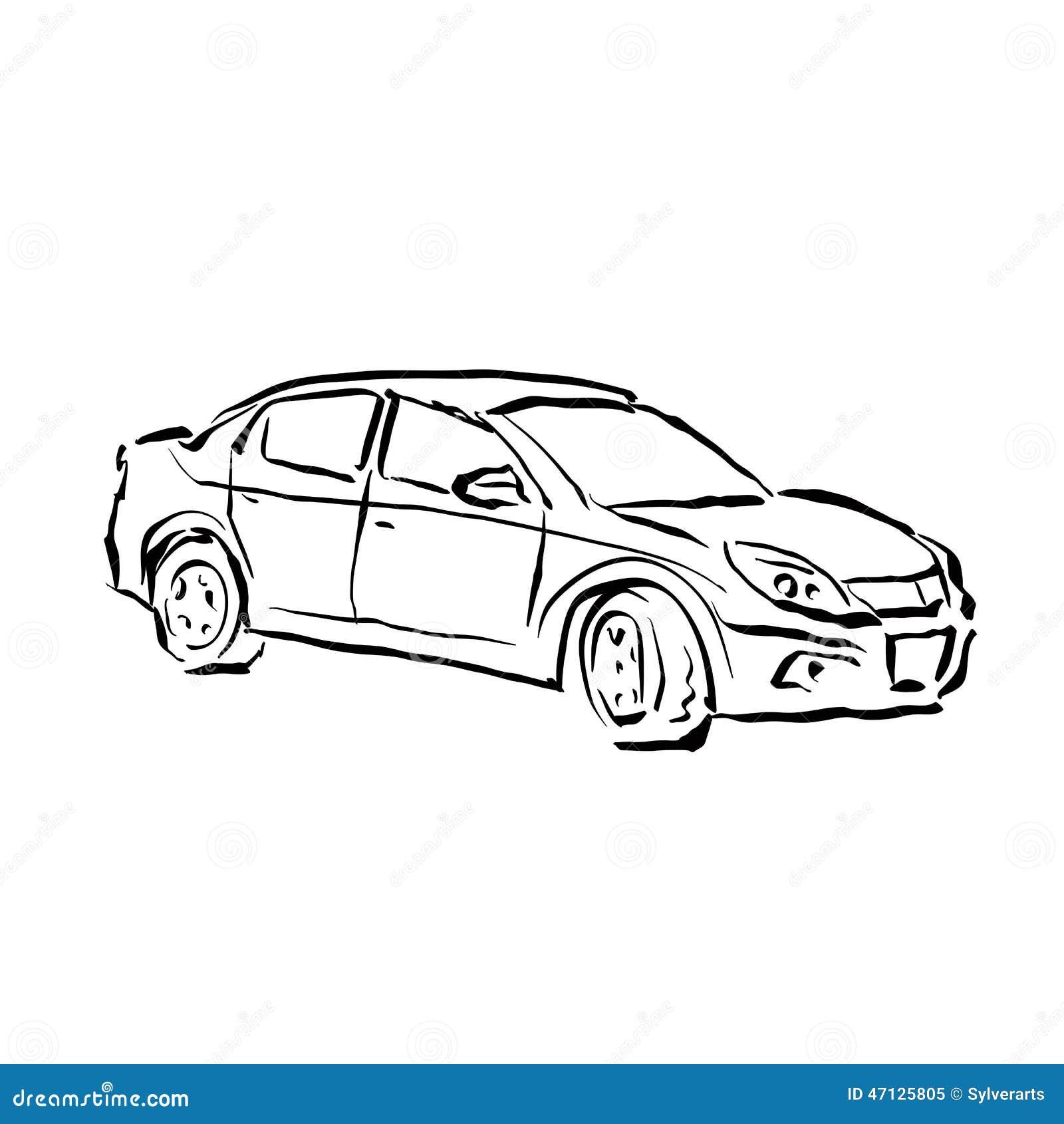 einfarbige hand gezeichnetes auto auf wei em hintergrund schwarzweiss i vektor abbildung bild. Black Bedroom Furniture Sets. Home Design Ideas
