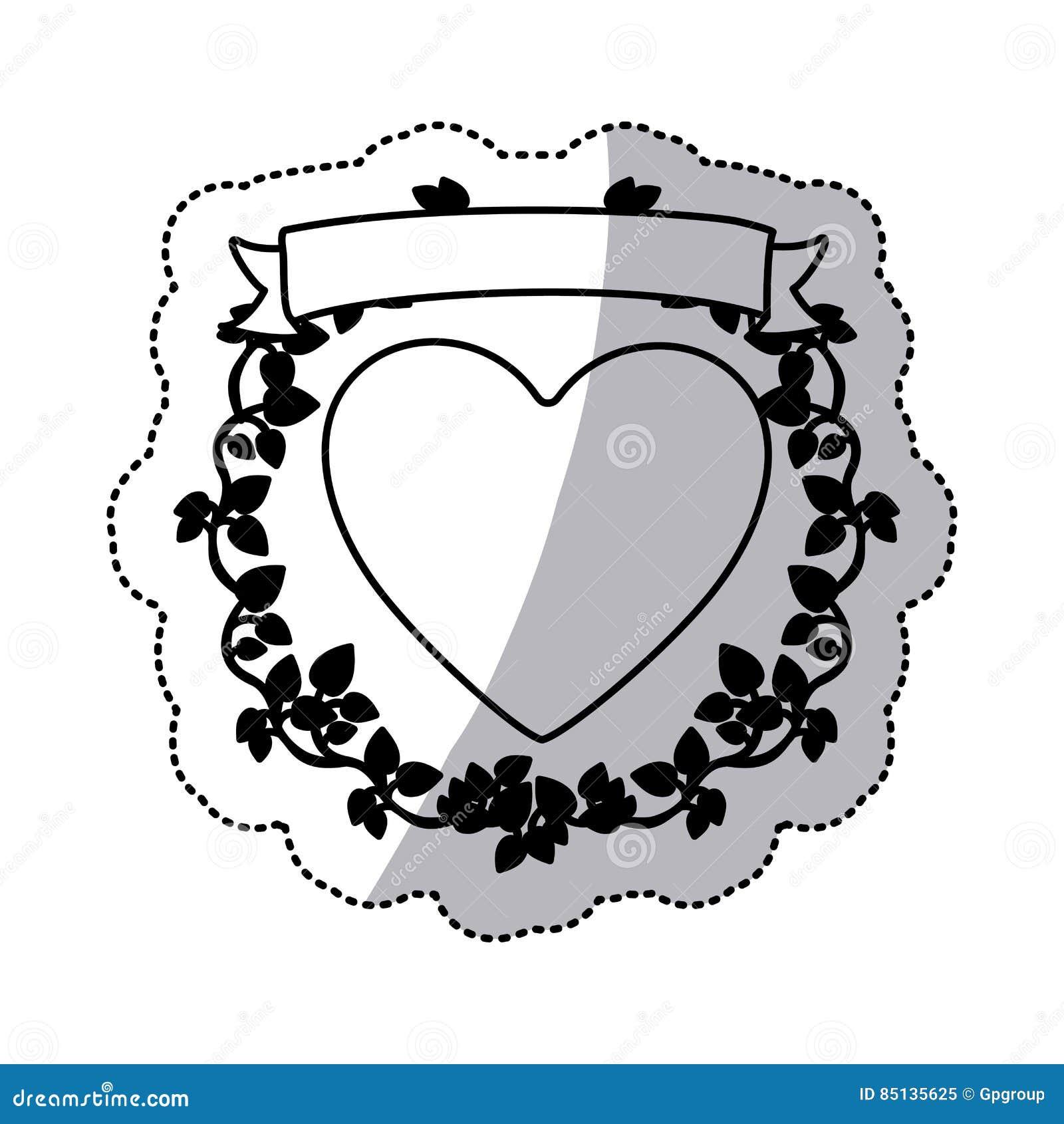 Einfarbiger Aufkleber mit Herzen und Band mit Kriechpflanze