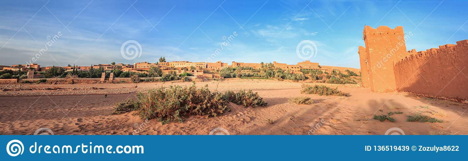Eingang von ksar Ait Benhaddou, Ouarzazate Alte Lehmstadt in Marokko
