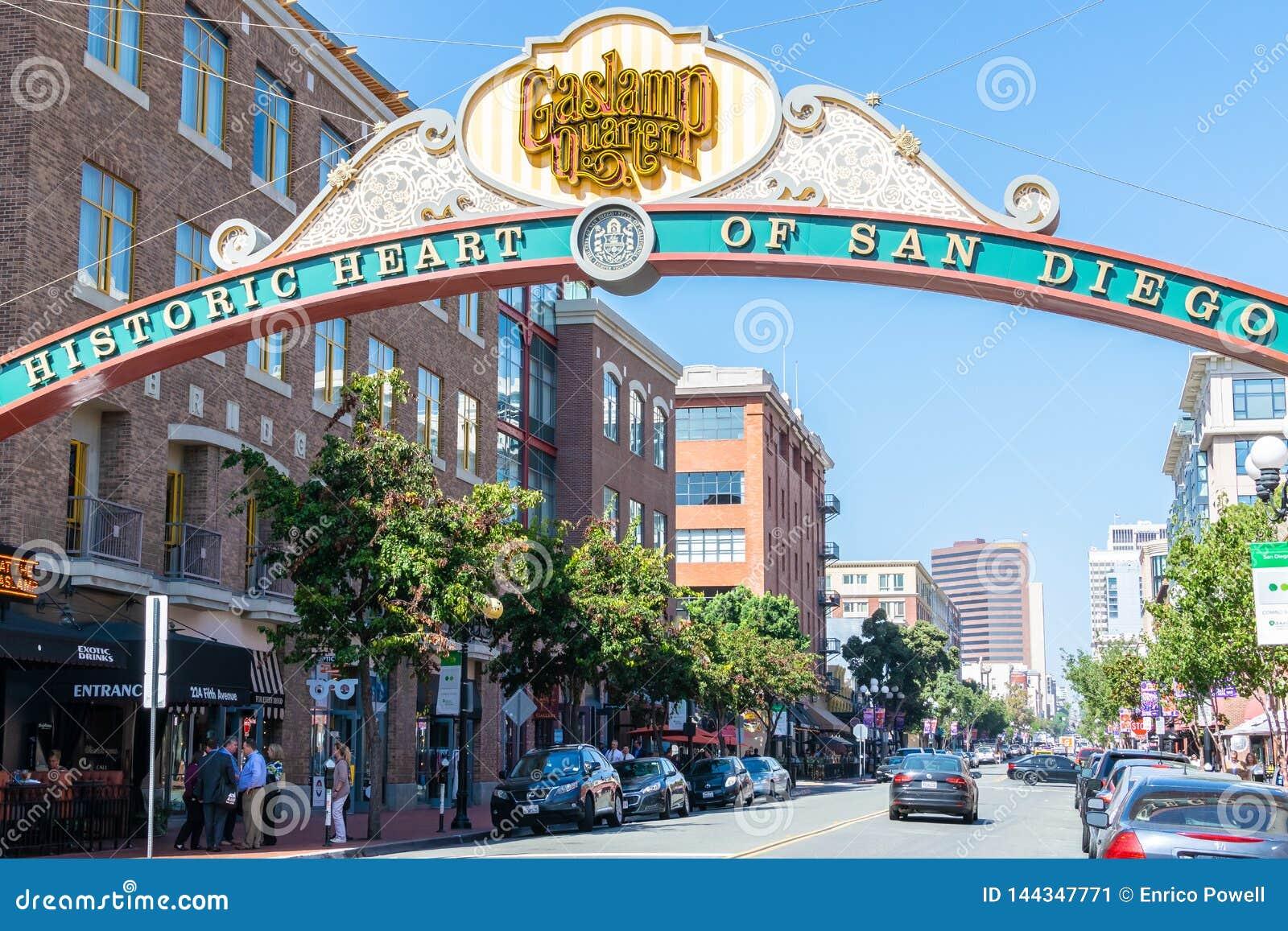 Eingang zu Gaslamp-Viertel in San Diego California