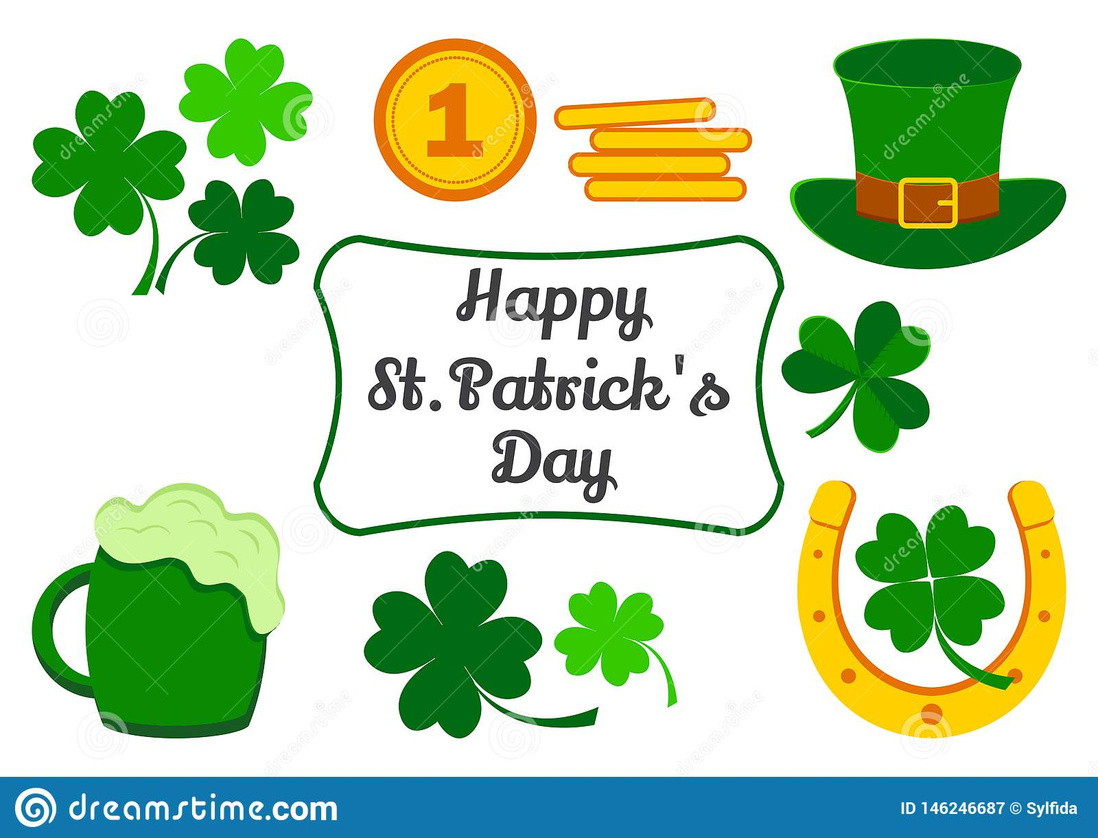 Eingestellt f?r St Patrick Tag Symbole des Feiertags Klee, Münzen, Hut, Hufeisen, Bier Vektor