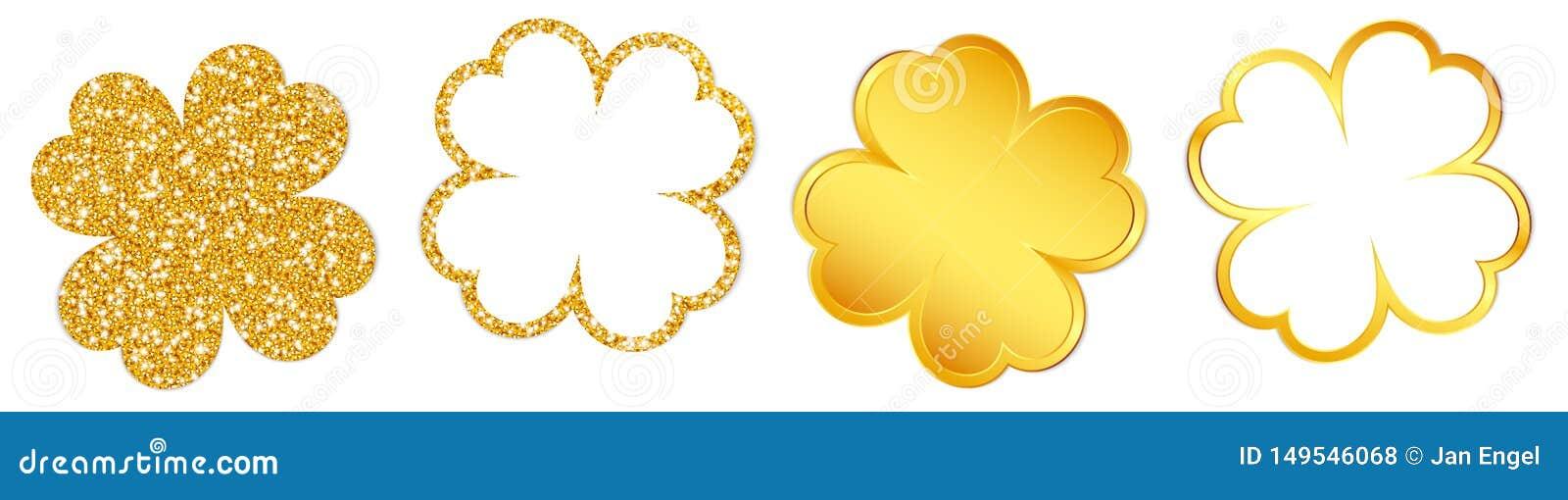 Eingestellt von vier funkelnden Klee-Blättern und von glänzendem Gold