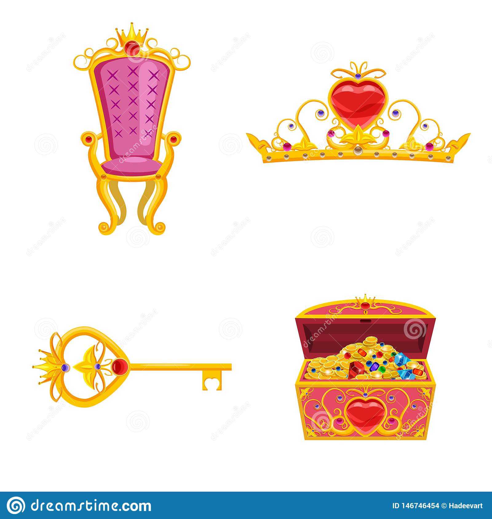 Eingestellte feenhafte Weltelemente und Attribute des Entwurfs Schatztruhe, Tiara, Schlüssel, Thron Vektor, Illustration, Karikat